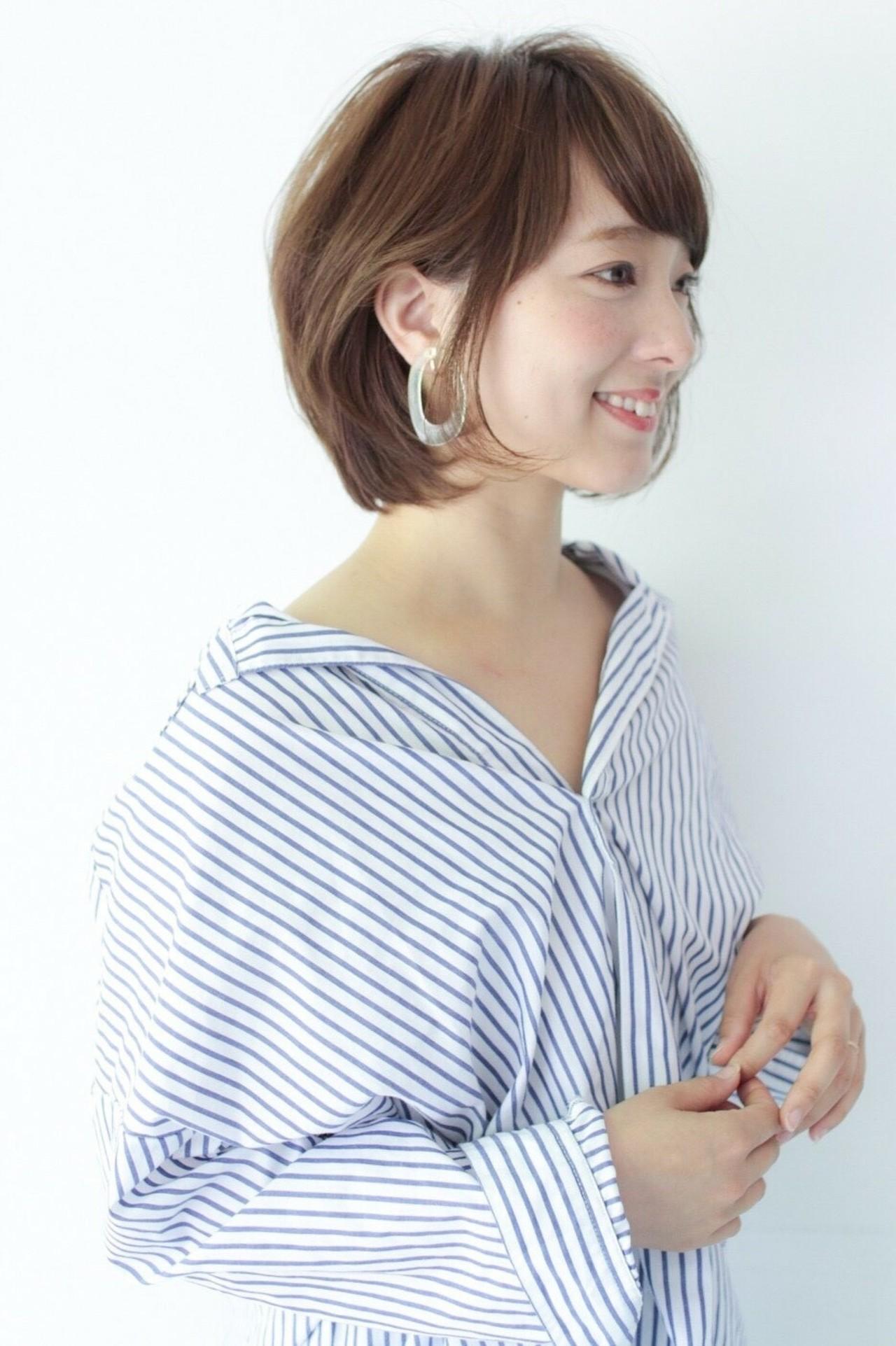 ワンカール 内巻き ショートボブ ボブ ヘアスタイルや髪型の写真・画像 | asuka /