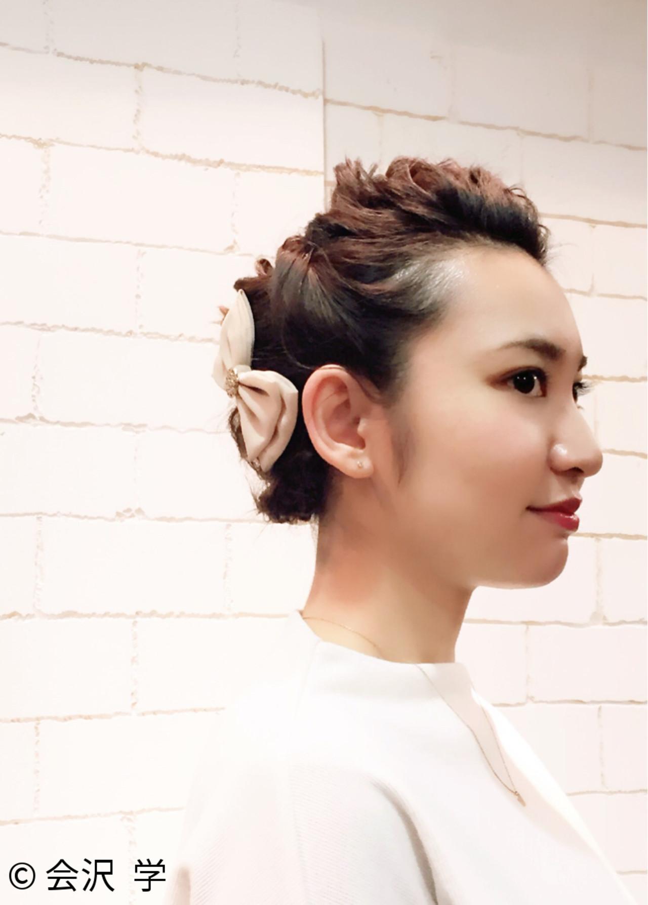 バレッタ ロープ編み ボブ ポンパドール ヘアスタイルや髪型の写真・画像 | 会沢 学 / stance