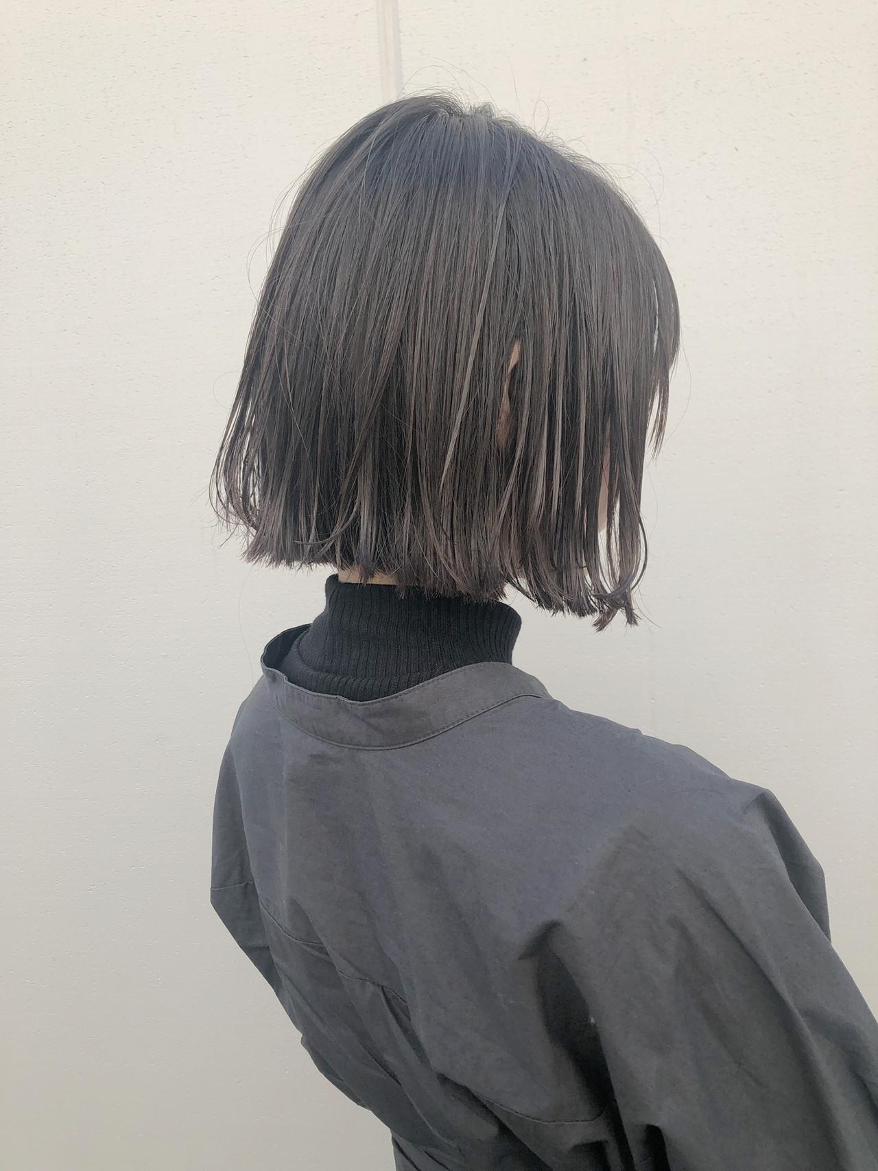 ボブ 切りっぱなしボブ 透明感カラー ストリート ヘアスタイルや髪型の写真・画像   野口勇樹【ノースタイリングボブ】 / GO TODAY渋谷