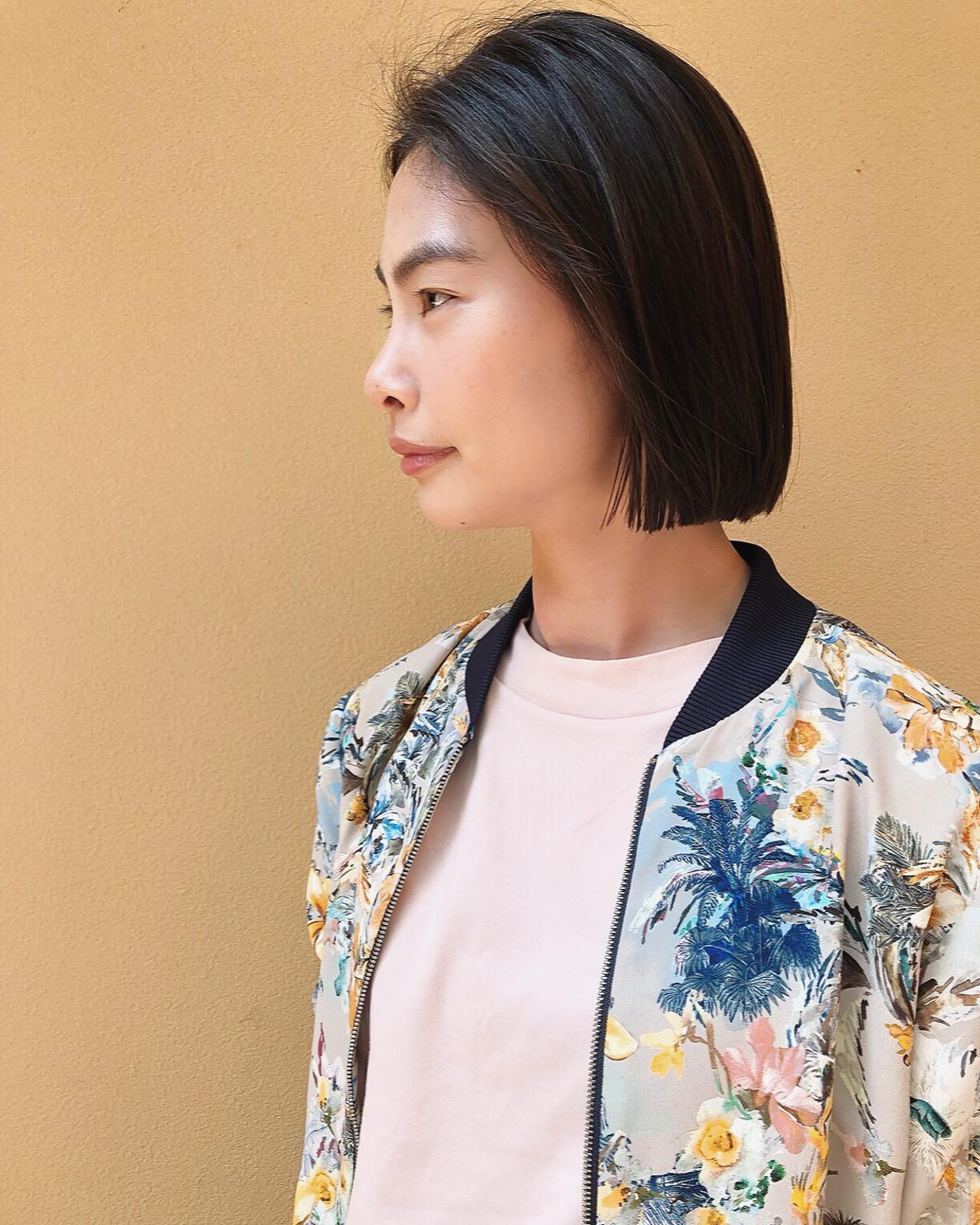 ストレート 韓国ヘア 黒髪 ストリート ヘアスタイルや髪型の写真・画像