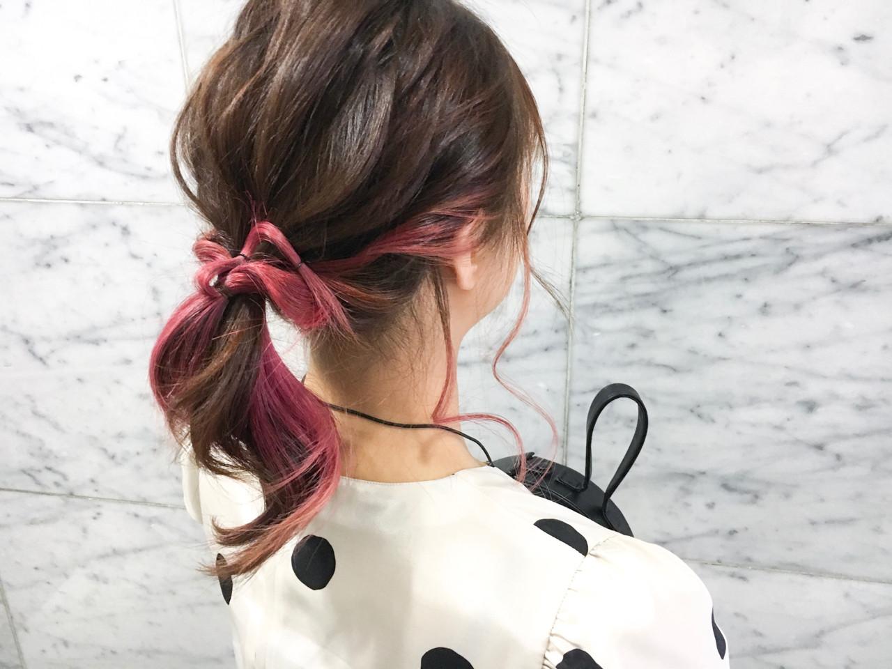 ストリート ダブルカラー ピンク ヘアアレンジ ヘアスタイルや髪型の写真・画像   emi【till】 / till
