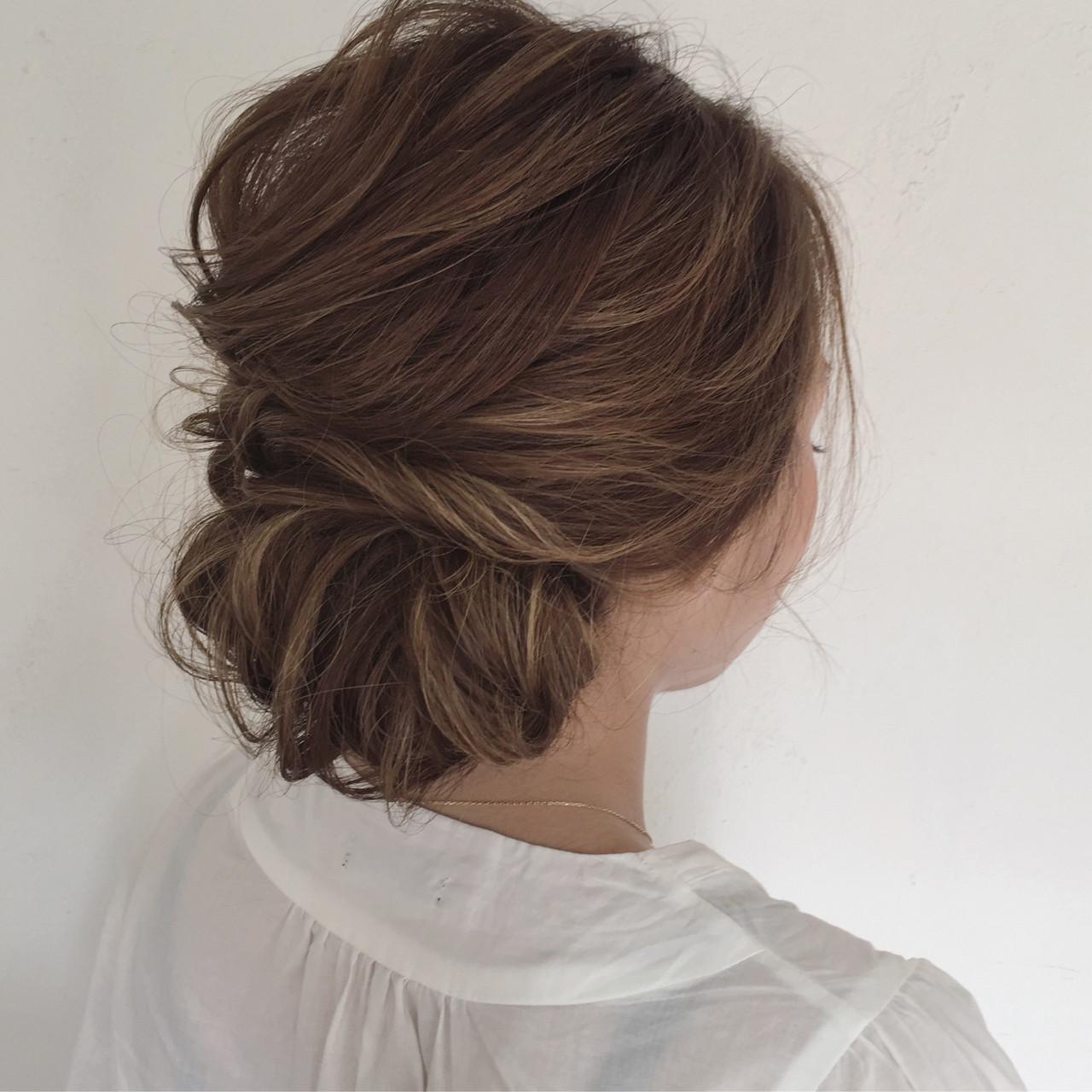 エレガント ミディアム 花火大会 ヘアアレンジヘアスタイルや髪型の写真・画像