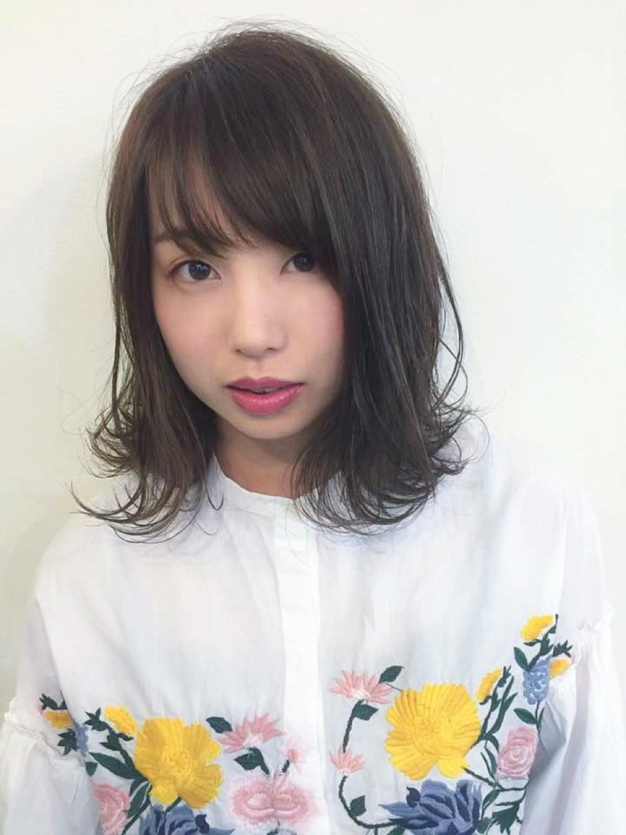 前髪あり ナチュラル ミディアム デート ヘアスタイルや髪型の写真・画像 | 清野 晃 / Lucile/ Well