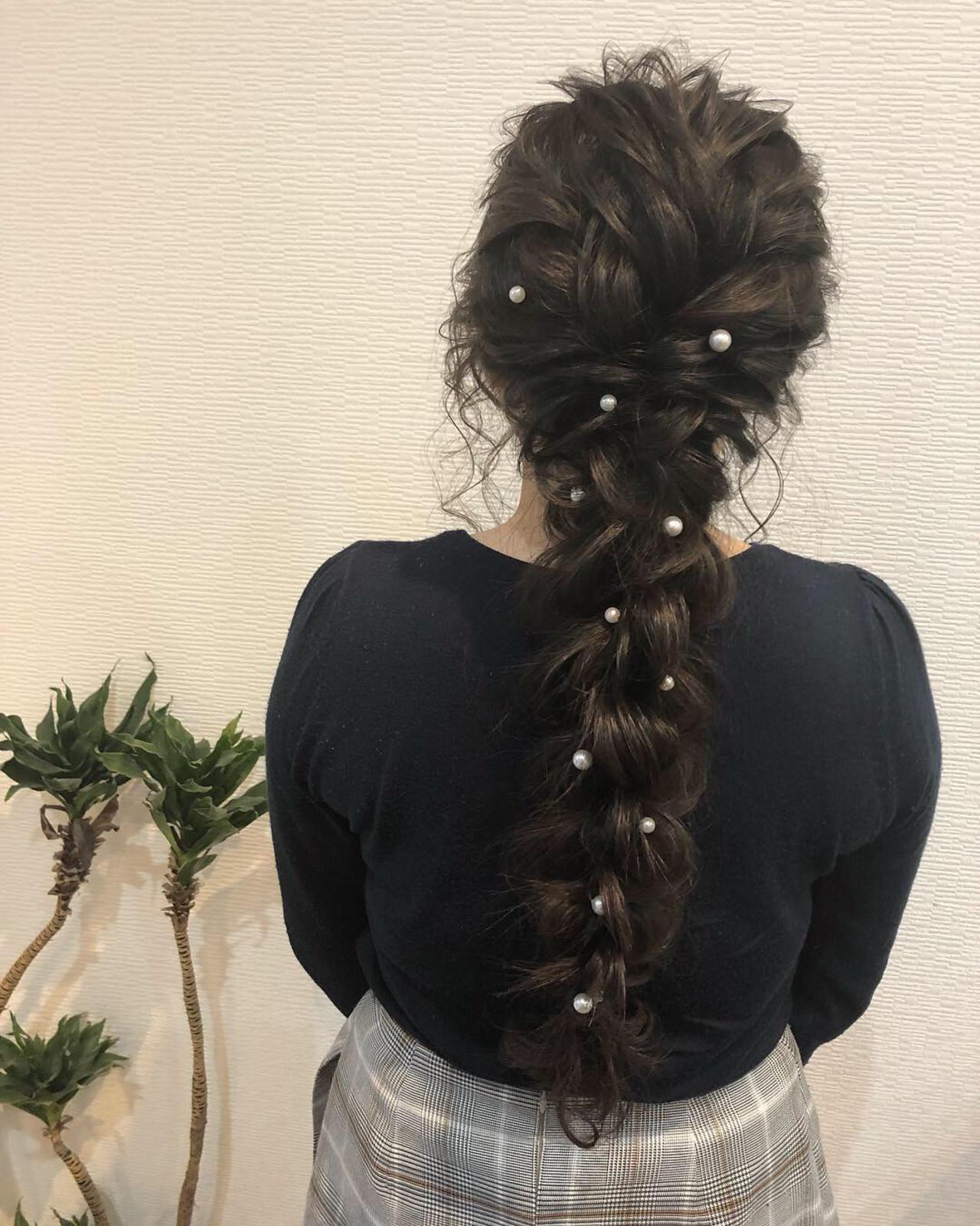 編みおろし ロング 編み込み ヘアアレンジヘアスタイルや髪型の写真・画像