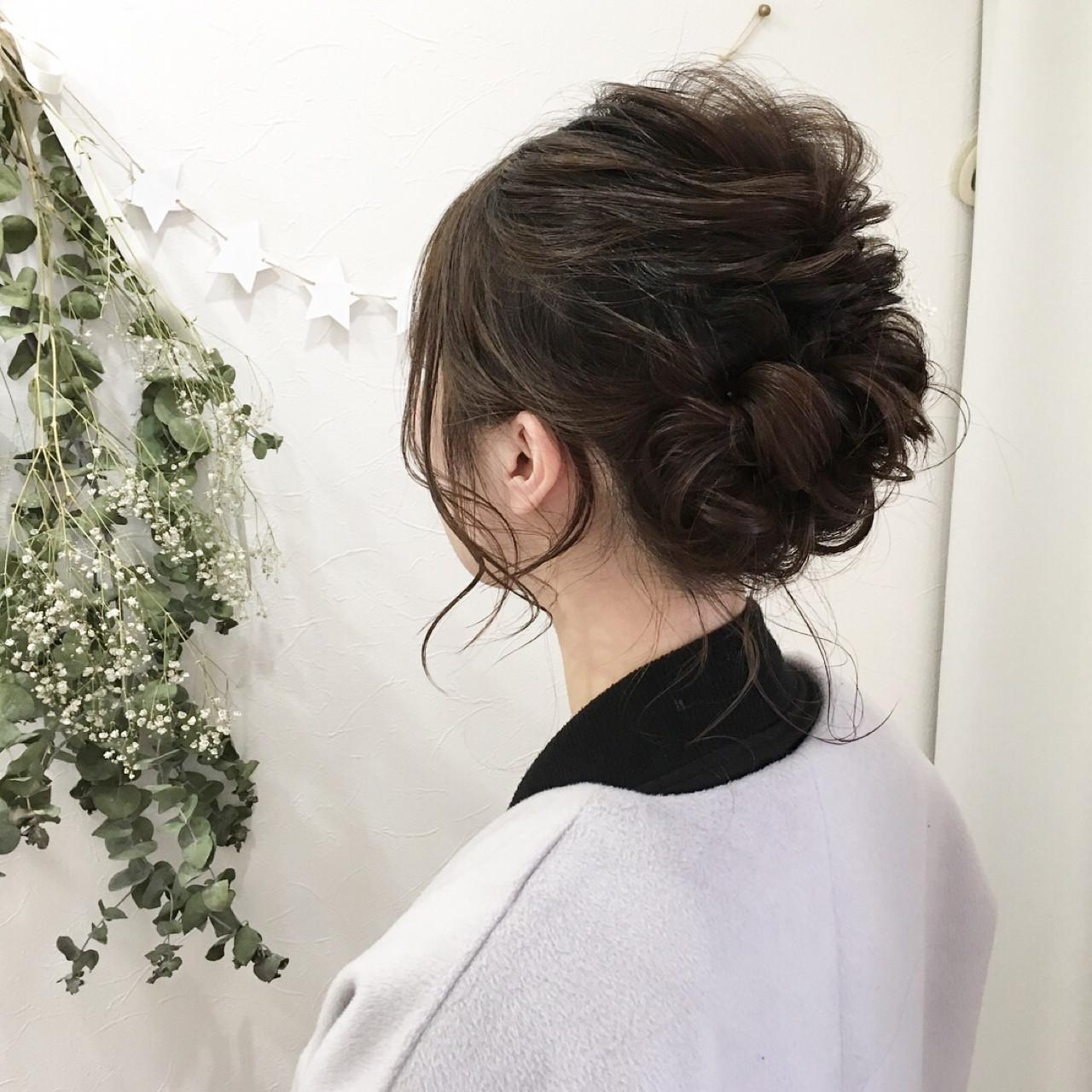 ミディアム 成人式 ヘアアレンジ ナチュラル ヘアスタイルや髪型の写真・画像 | 原田あゆみ / coquille/コキーユ