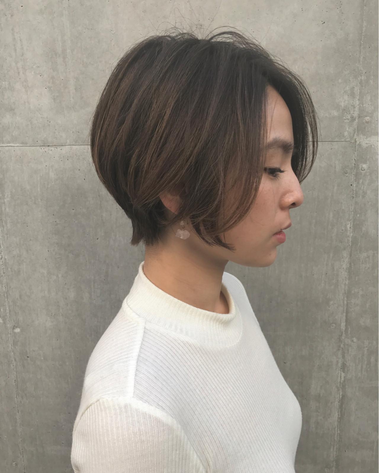 ニュアンス ショート 冬 似合わせヘアスタイルや髪型の写真・画像
