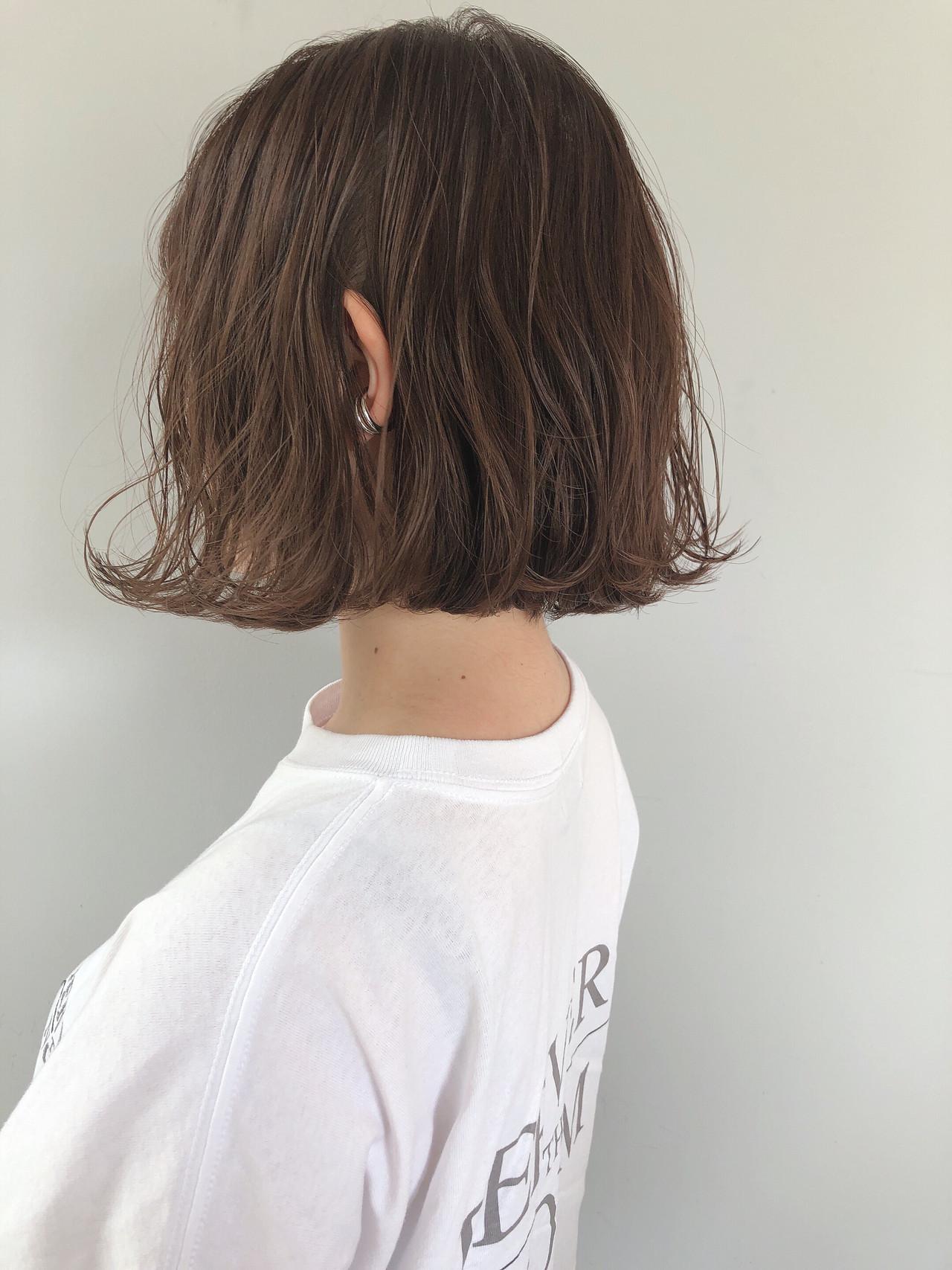 ナチュラル ミルクグレージュ ミニボブ 大人かわいい ヘアスタイルや髪型の写真・画像 | 上田智久 / ooit 福岡 天神 / ooit