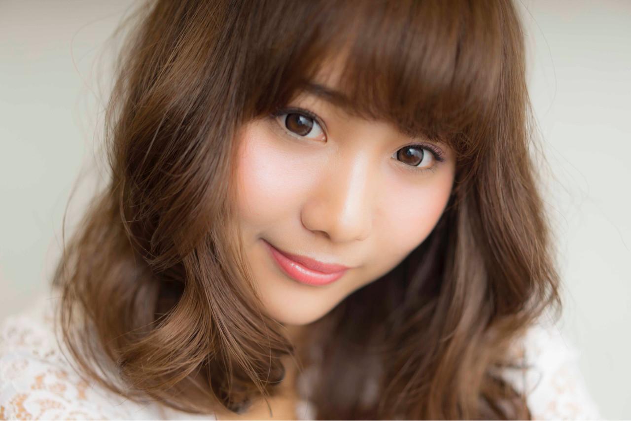 外国人風 フェミニン ブラウン ミディアム ヘアスタイルや髪型の写真・画像 | 山口純一郎 / hair design Sola