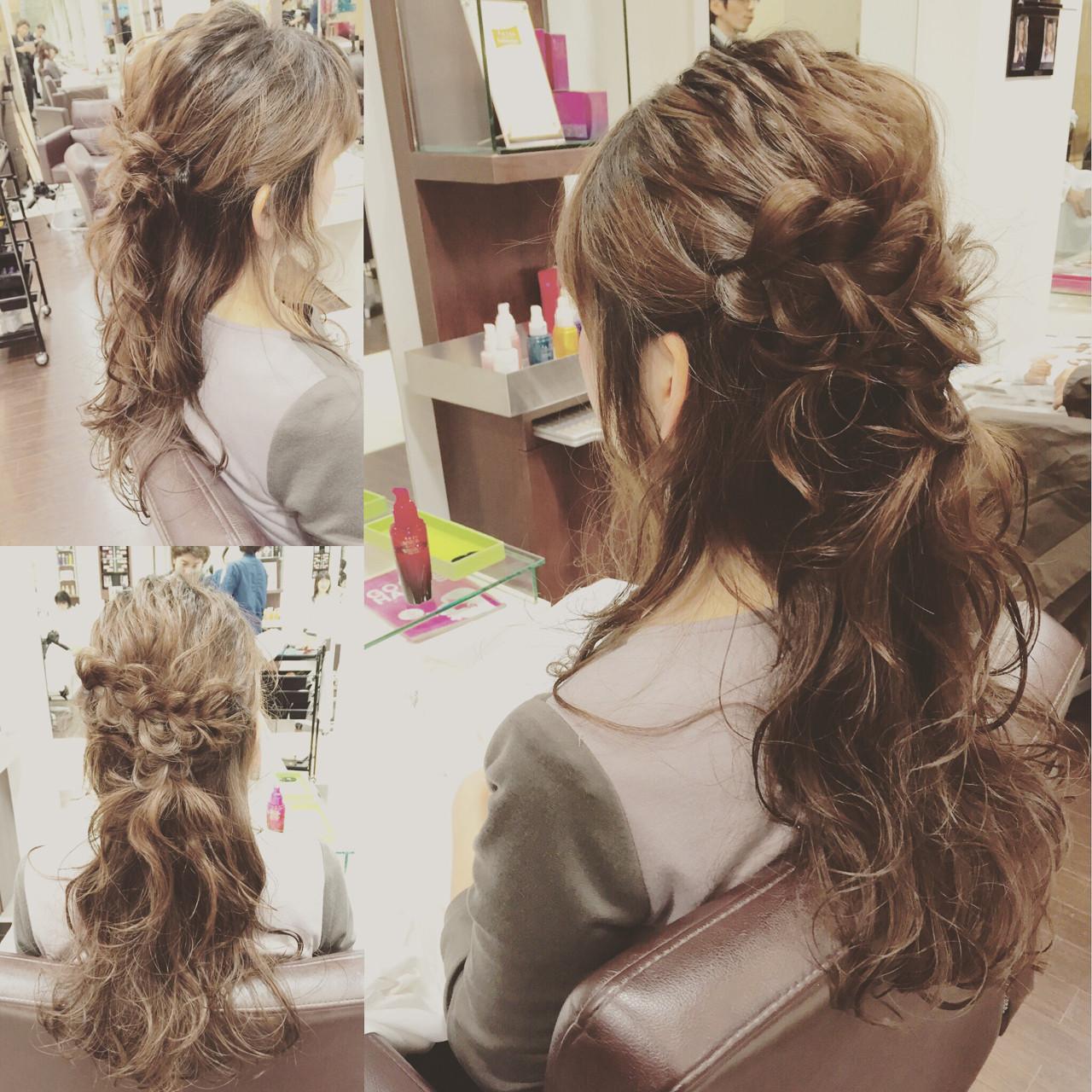 簡単ヘアアレンジ ロング ハーフアップ ヘアアレンジ ヘアスタイルや髪型の写真・画像 | 稲野 剛 / pikaichi 熊本上通り店