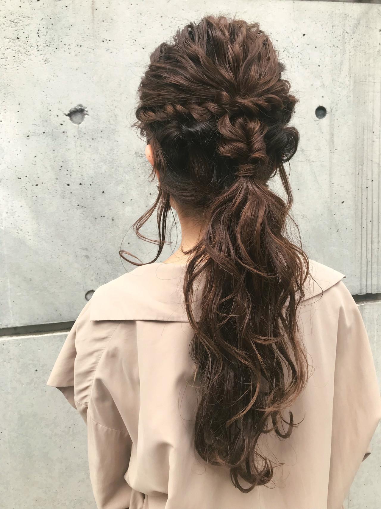 簡単ヘアアレンジ ヘアアレンジ ナチュラル 結婚式 ヘアスタイルや髪型の写真・画像   おかゆ / tete nico