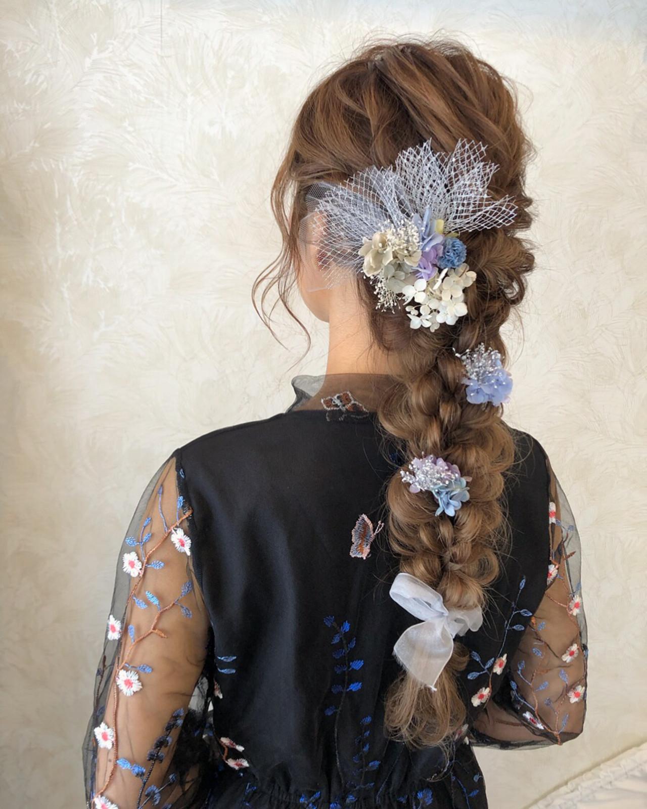 編みおろし 結婚式 ブライダル ロング ヘアスタイルや髪型の写真・画像 | mai / HAIR SALON STELLA