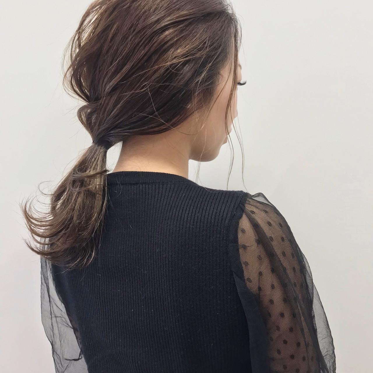 結婚式ヘアアレンジ セミロング 大人カジュアル エレガントヘアスタイルや髪型の写真・画像