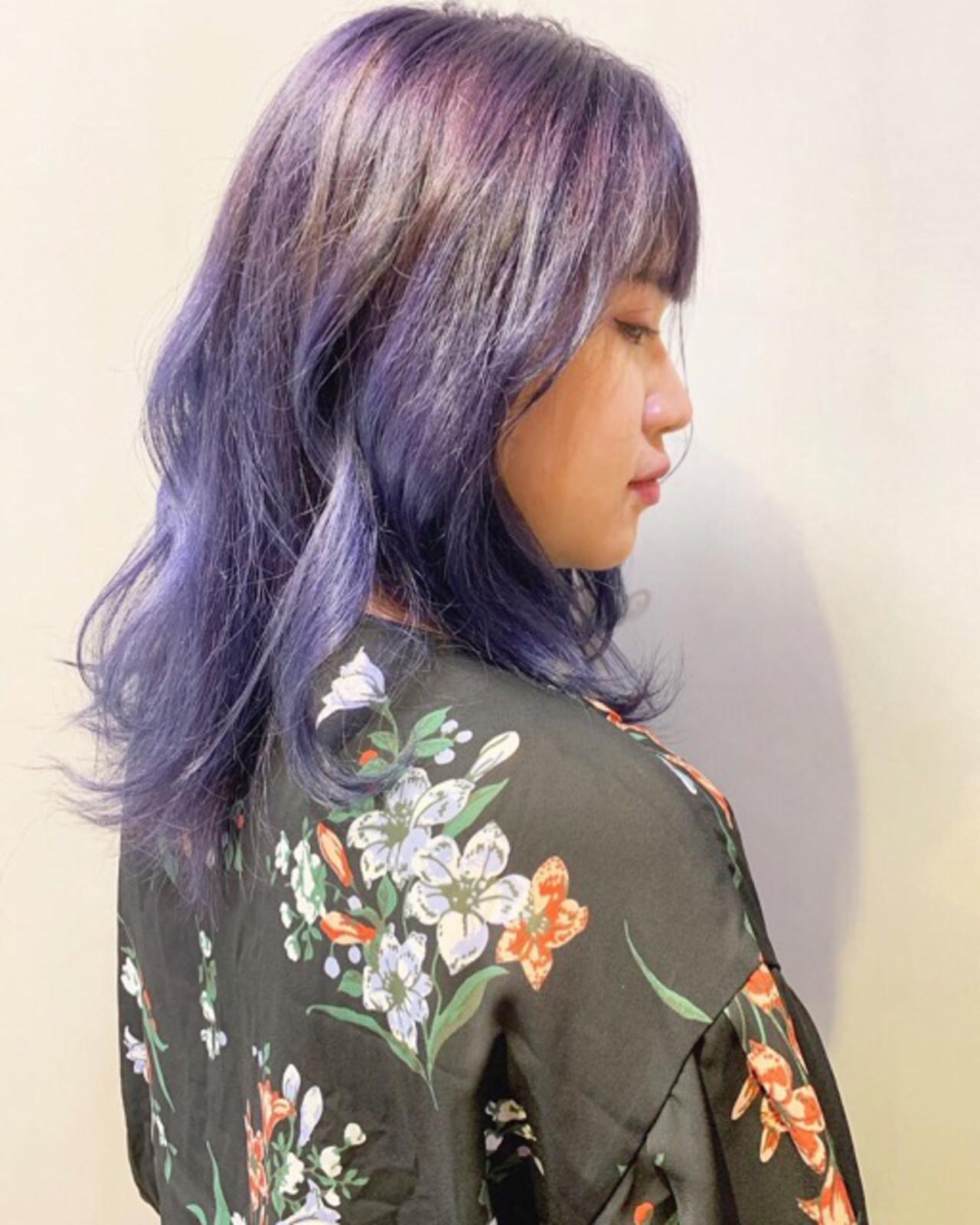 ラベンダー ラベンダーピンク ストリート ミディアム ヘアスタイルや髪型の写真・画像 | COM PASS 太一 / COM PASS