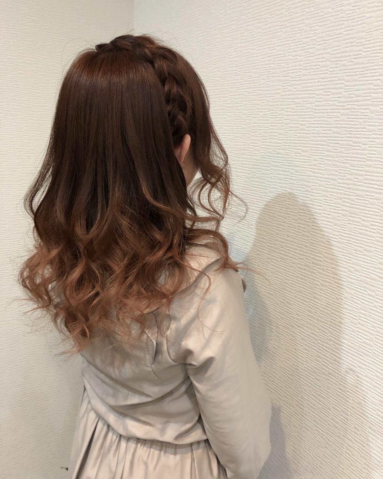 ハーフアップ ガーリー ヘアアレンジ セミロング ヘアスタイルや髪型の写真・画像 | mai / HAIR SALON STELLA