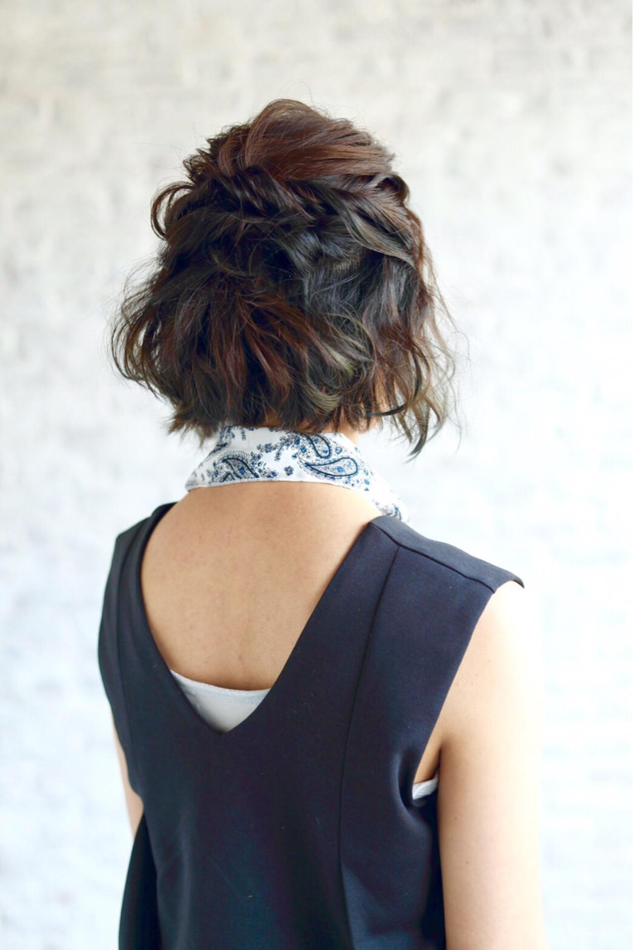 ハーフアップ ヘアアレンジ 簡単ヘアアレンジ 暗髪 ヘアスタイルや髪型の写真・画像 | 細谷真衣子 / SUGIMOTO河辺店