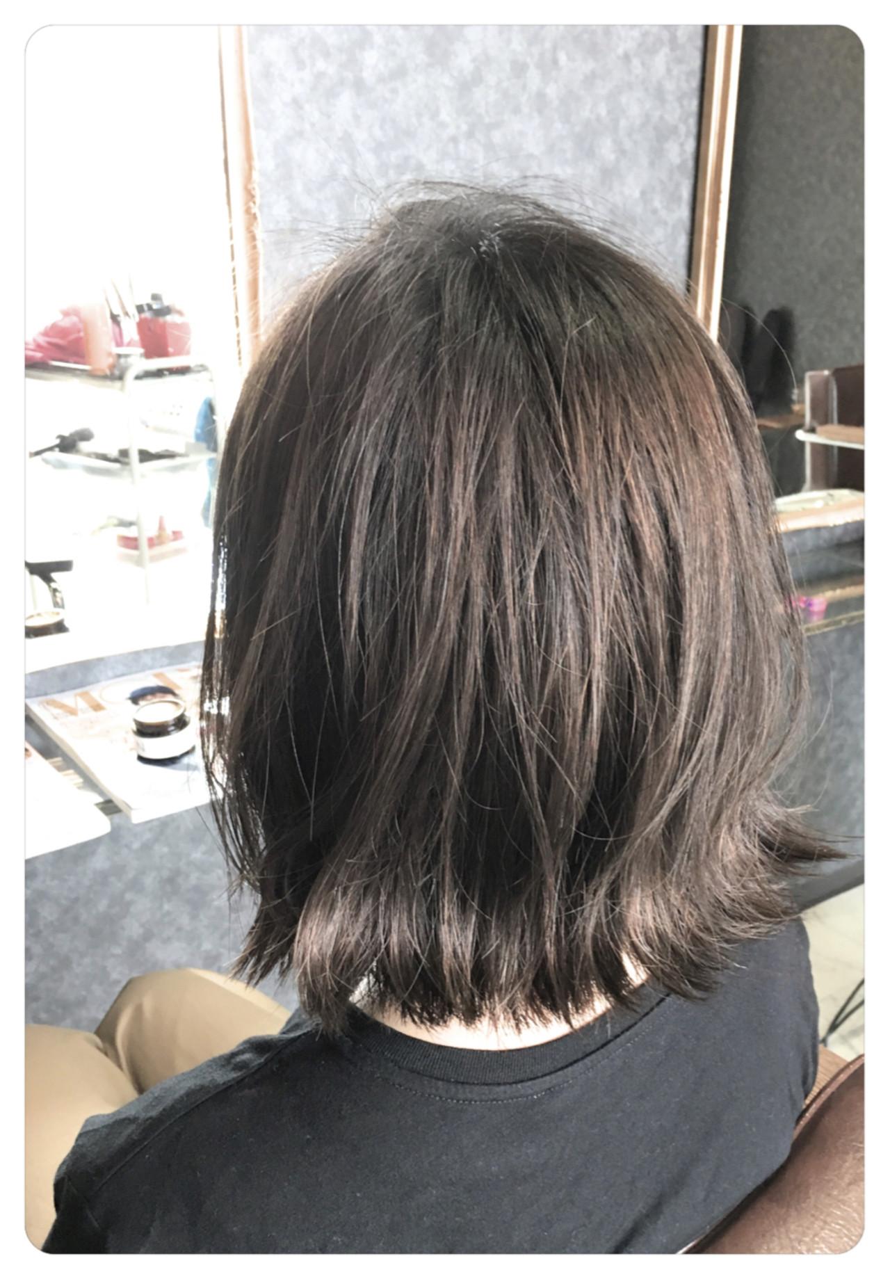 ナチュラル 外ハネ ボブ バレイヤージュ ヘアスタイルや髪型の写真・画像 | 金原 潤 / Hair salon will