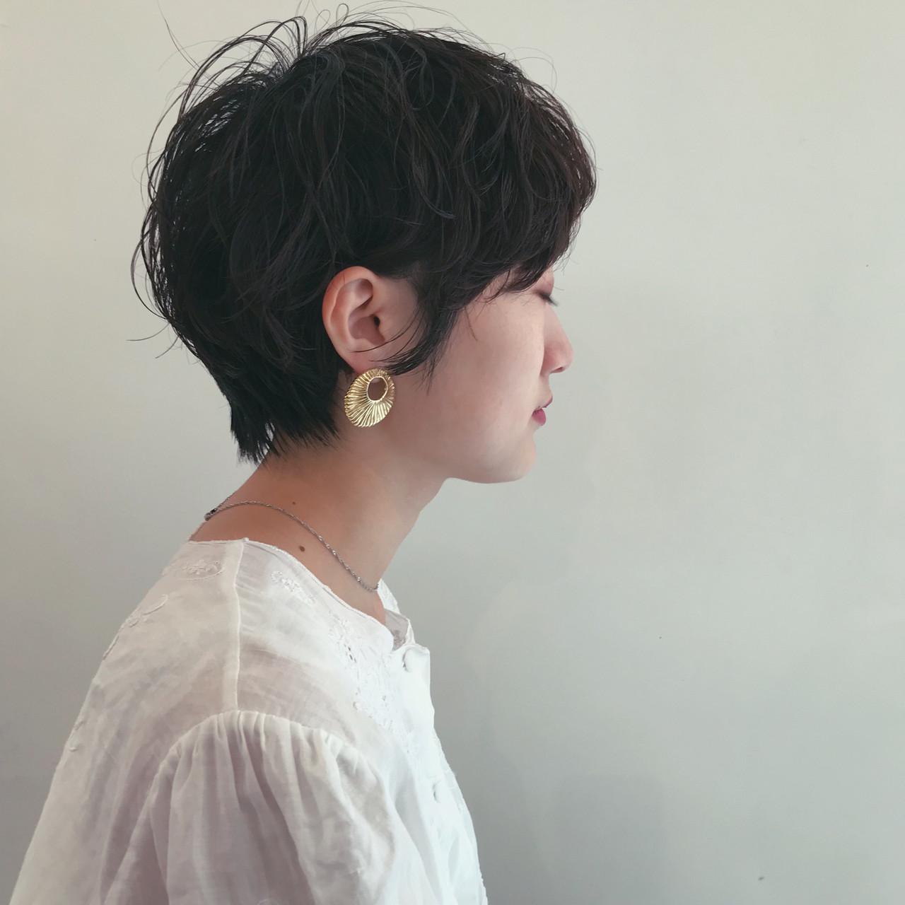 大人ショート マッシュショート ナチュラル 透明感カラー ヘアスタイルや髪型の写真・画像 | 井浦果歩 / ecouter