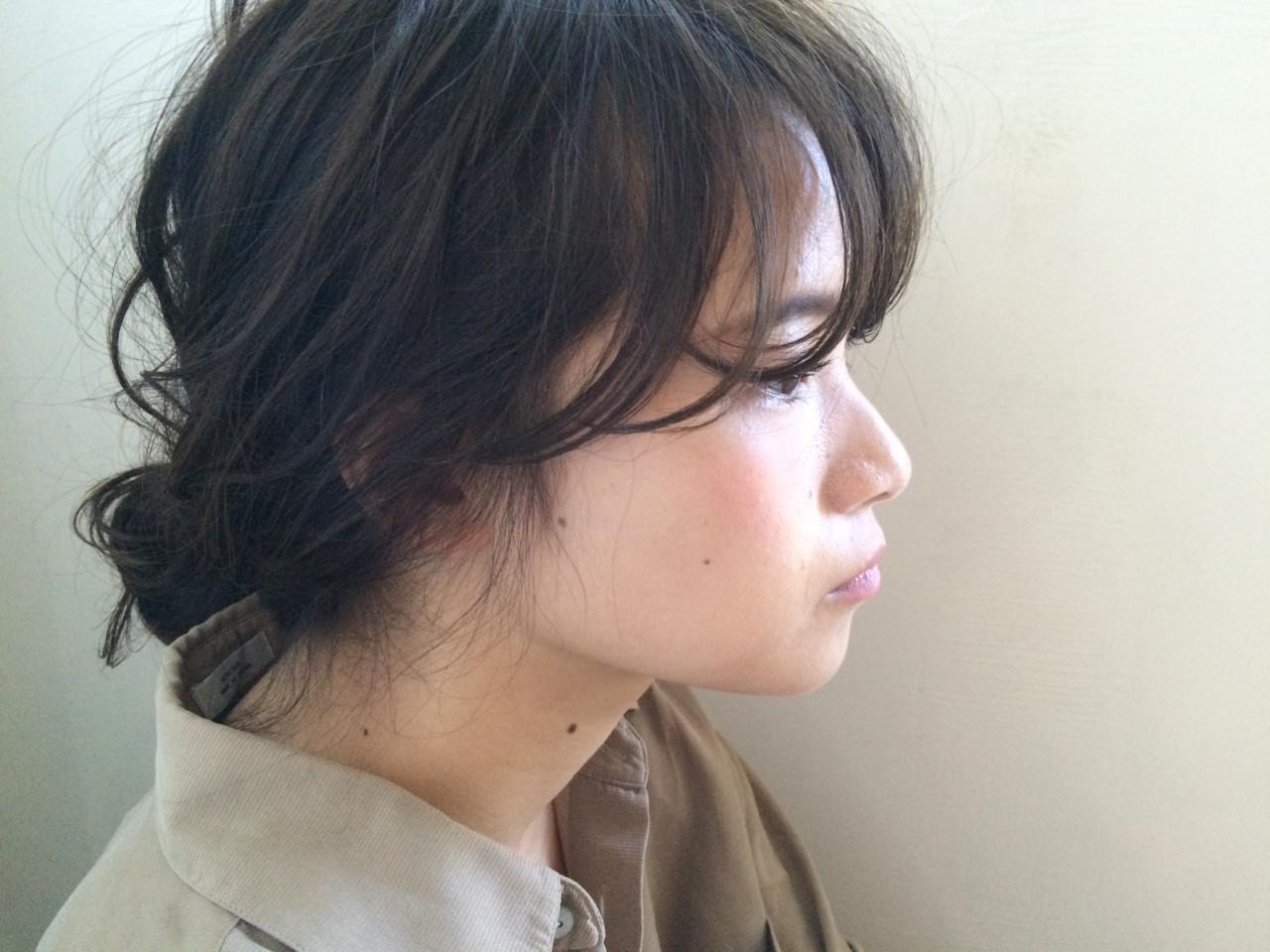 簡単ヘアアレンジ ハイライト ミディアム 外国人風 ヘアスタイルや髪型の写真・画像   NAOYA KARASAWA / krabät