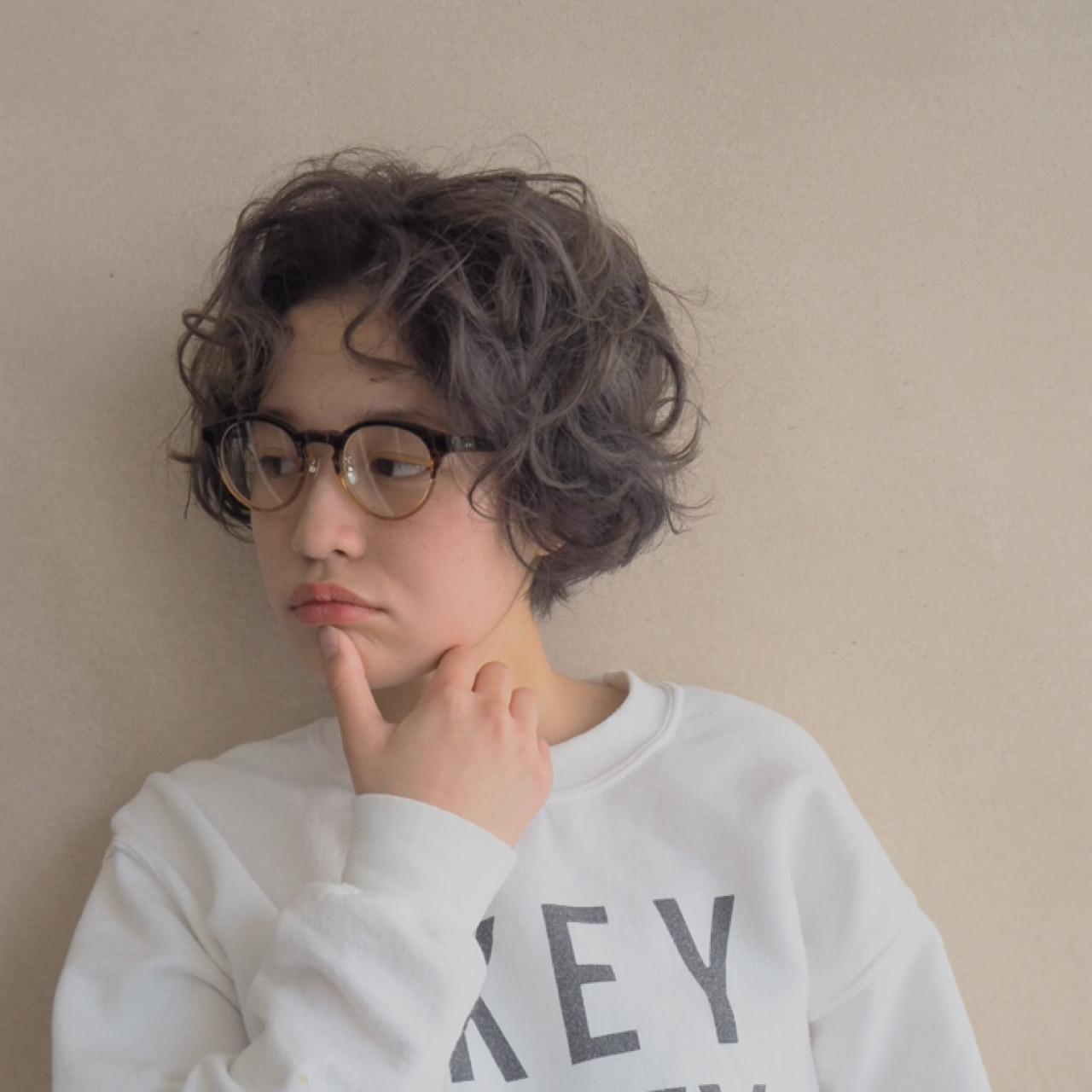 くせ毛風 ナチュラル ショート パーマ ヘアスタイルや髪型の写真・画像 | 井上可南子 / ☆