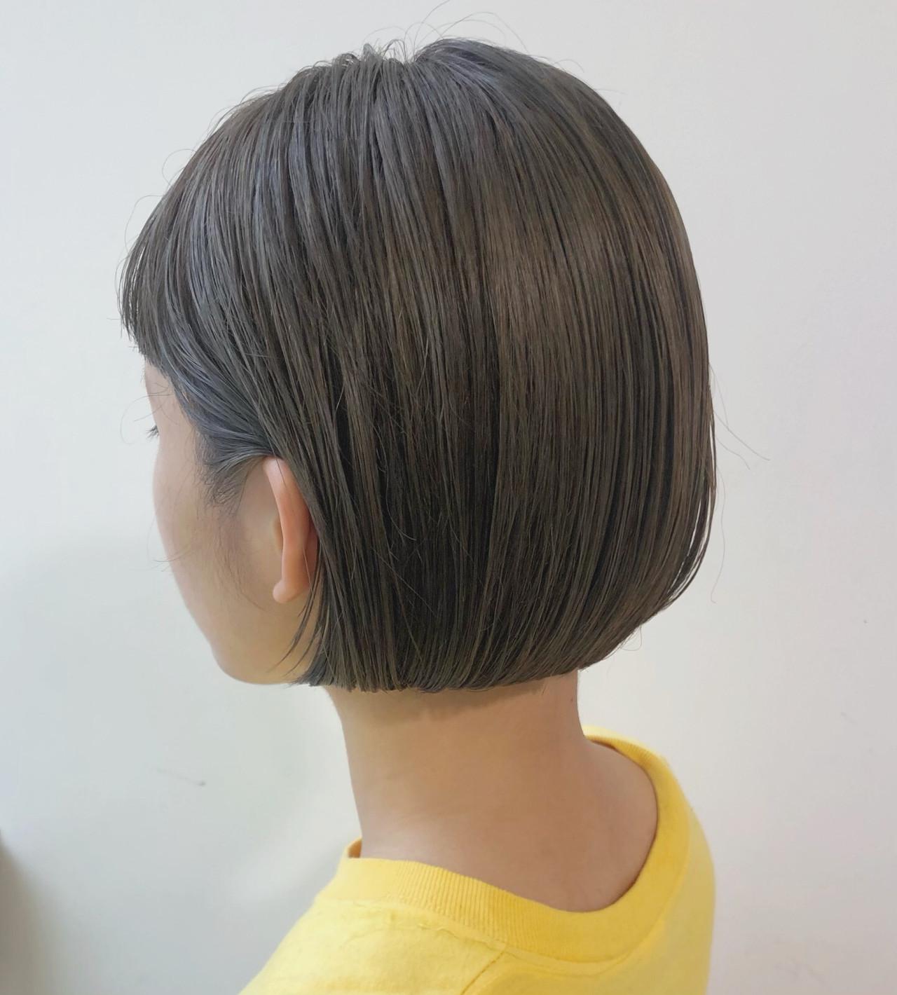 ショートボブ オフィス モテボブ ミニボブ ヘアスタイルや髪型の写真・画像 | 大園佳穂 / Gigi