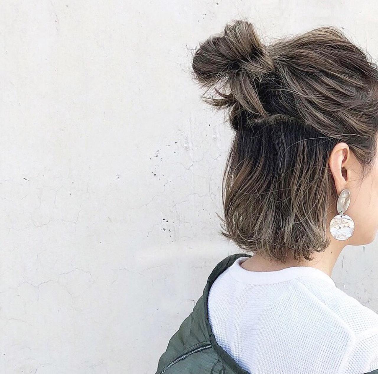 グレージュ 外国人風 ボブ ハイライトヘアスタイルや髪型の写真・画像