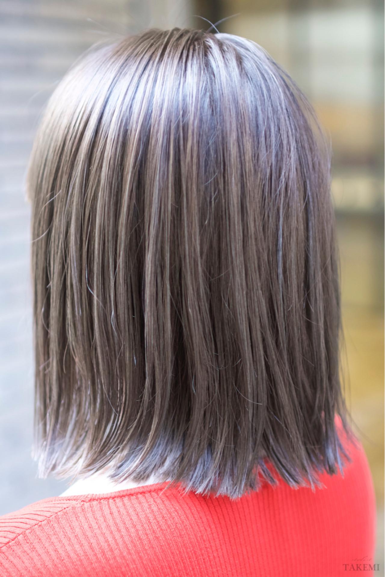 ダブルカラー ボブ ハイライト 外国人風 ヘアスタイルや髪型の写真・画像   TAKEMI / BEBE 表参道
