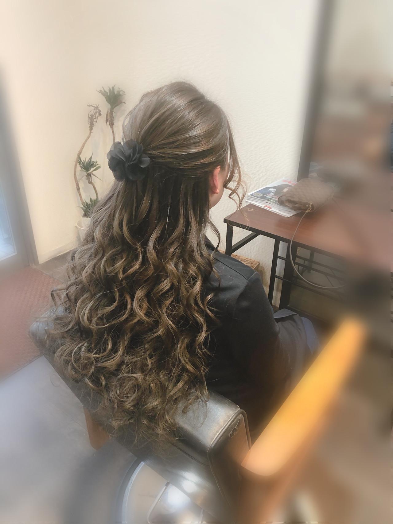 ロング ハーフアップ 結婚式 フェミニン ヘアスタイルや髪型の写真・画像 | mai / HAIR SALON STELLA