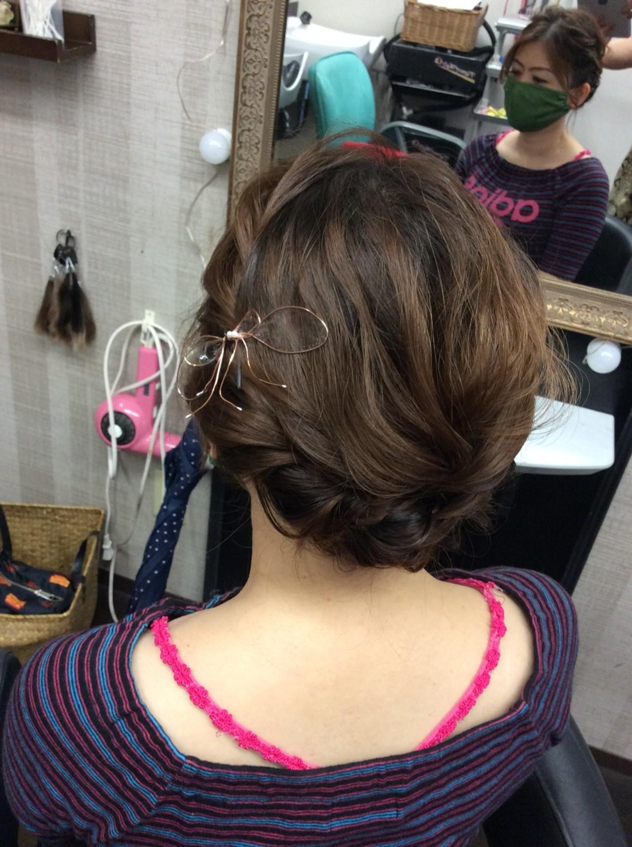 簡単ヘアアレンジ ヘアアクセサリー ミディアム ヘアアレンジヘアスタイルや髪型の写真・画像