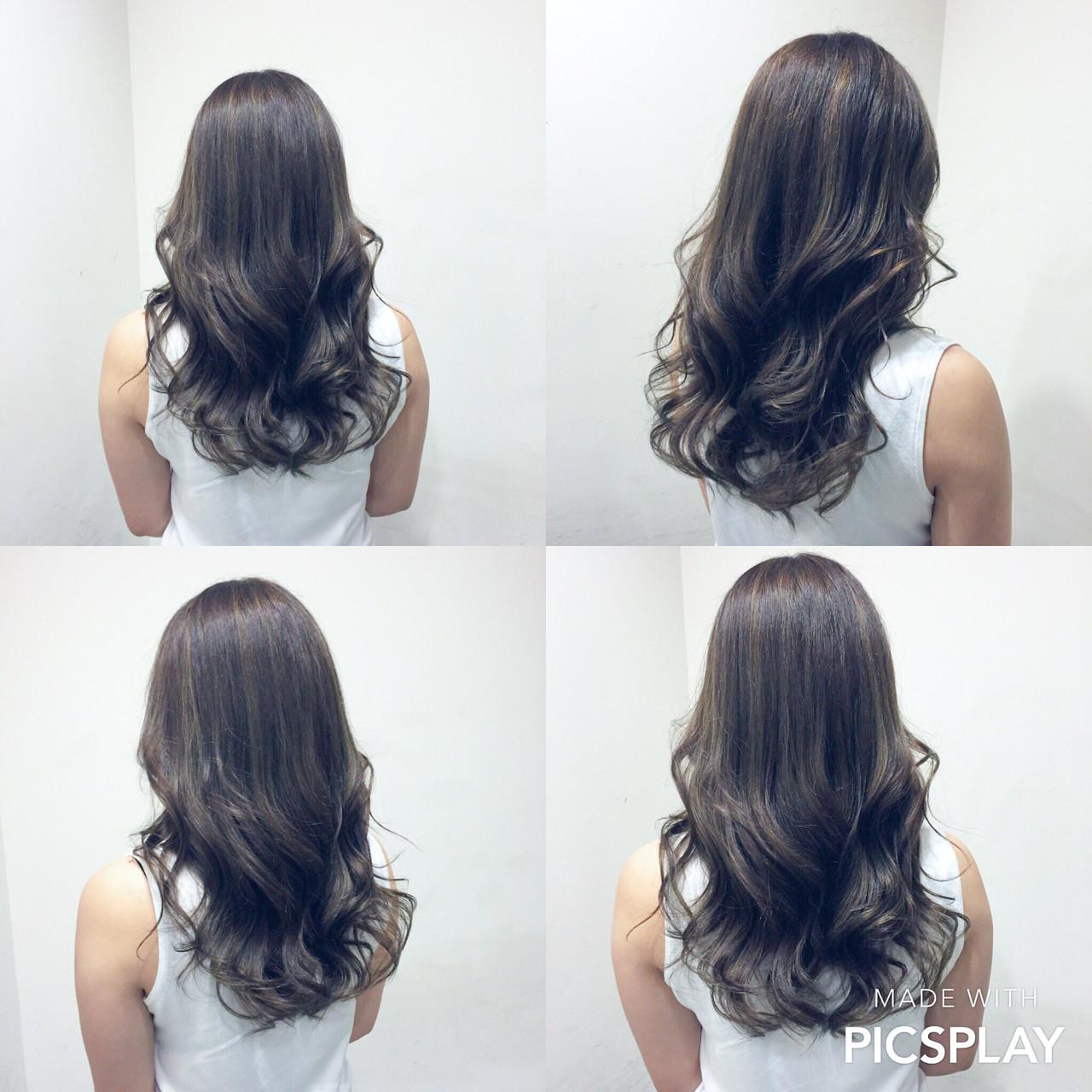 グラデーションカラー アッシュ セミロング ナチュラルヘアスタイルや髪型の写真・画像