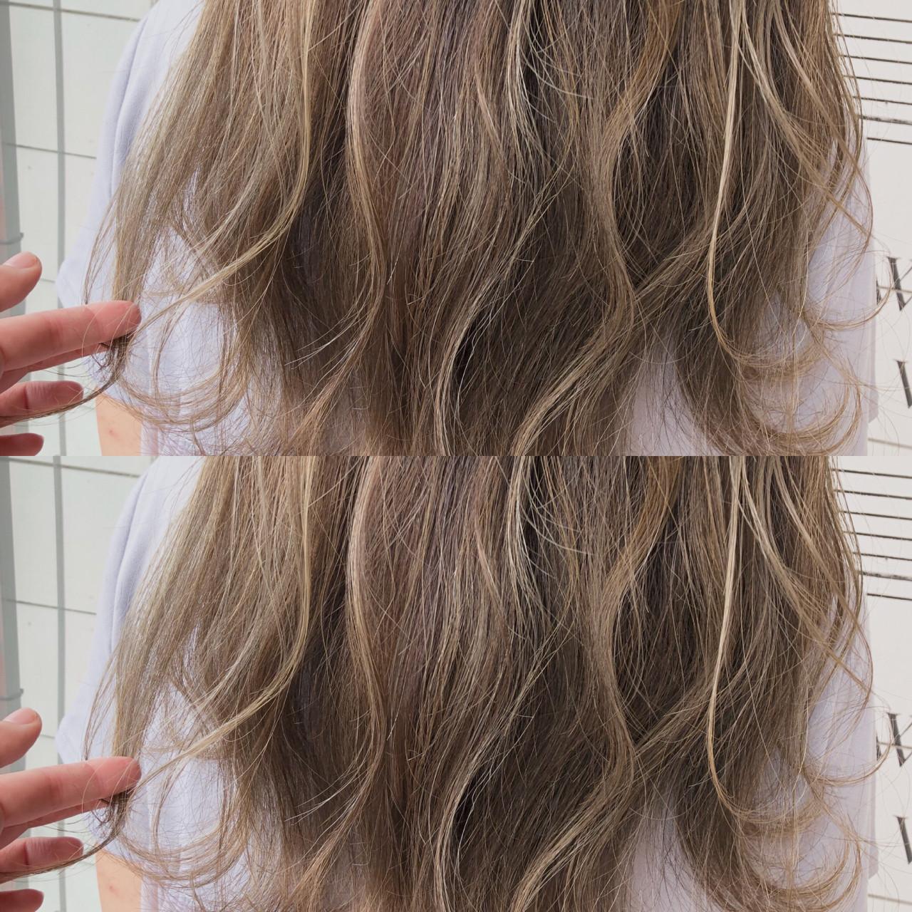 ハイライト ゆるふわ 大人かわいい 前髪ありヘアスタイルや髪型の写真・画像