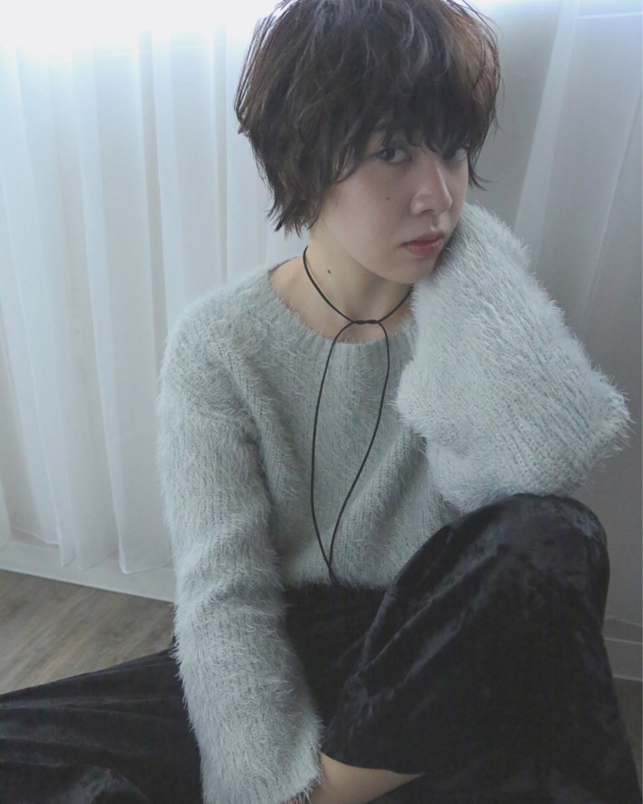 外国人風 アッシュ パーマ ショート ヘアスタイルや髪型の写真・画像 | 犬島 麻姫子 / artefice