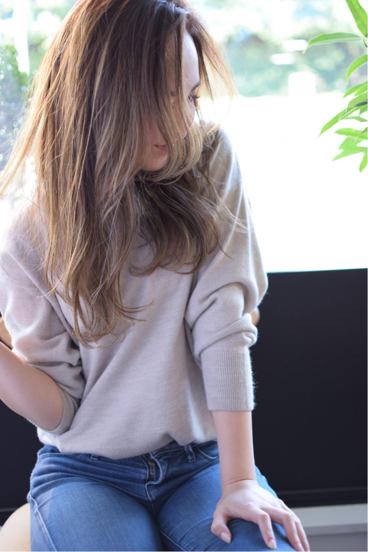 ストリート イルミナカラー グレージュ セミロング ヘアスタイルや髪型の写真・画像 | 金本潤 / chord/HONEYbychord