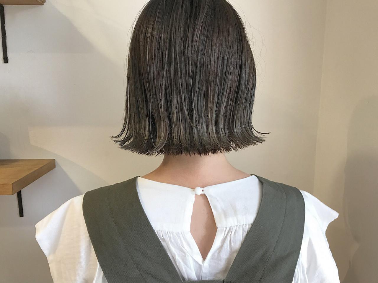 外ハネ ショートボブ 秋 透明感 ヘアスタイルや髪型の写真・画像 | KENTO.NOESALON / NOE SALON