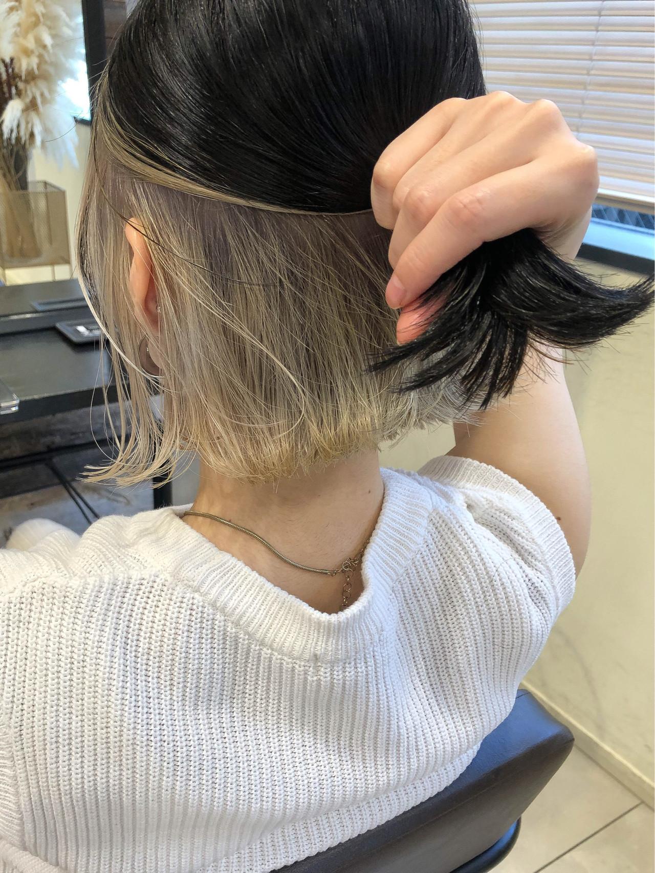 切りっぱなしボブ インナーカラー ボブ グレージュ ヘアスタイルや髪型の写真・画像 | 高沼 達也 / byトルネード / トルネード