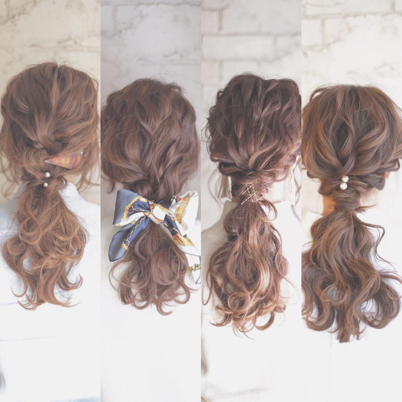 ポニーテール ゆるふわ ショート ロングヘアスタイルや髪型の写真・画像