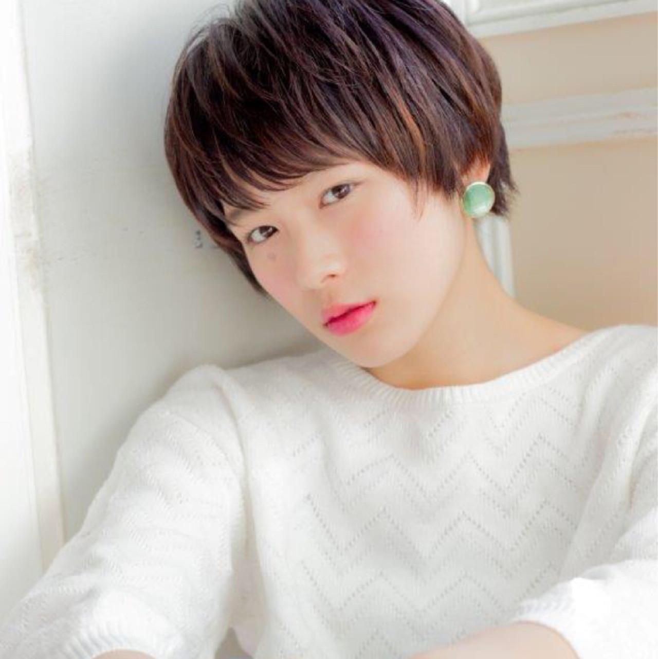 ミルクティー ショート 小顔 ナチュラル ヘアスタイルや髪型の写真・画像   Unami 工藤由佳 / Unami omotesando