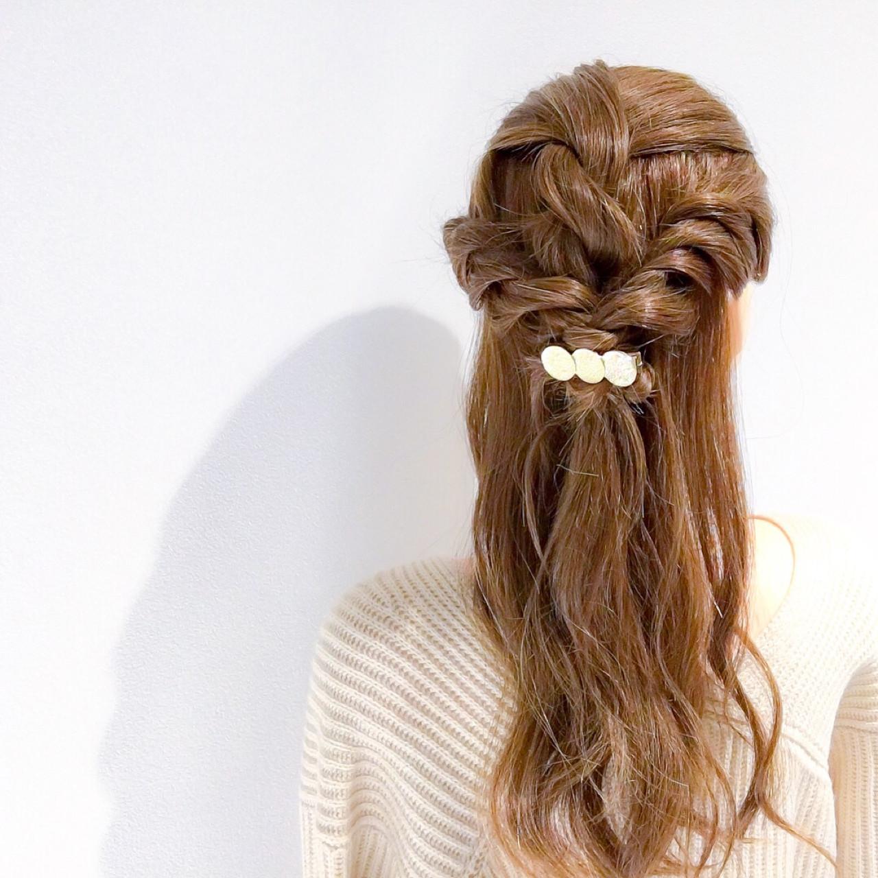 フェミニン ハーフアップ セミロング ヘアアレンジ ヘアスタイルや髪型の写真・画像 | 美容師HIRO/Amoute代表 / Amoute/アムティ