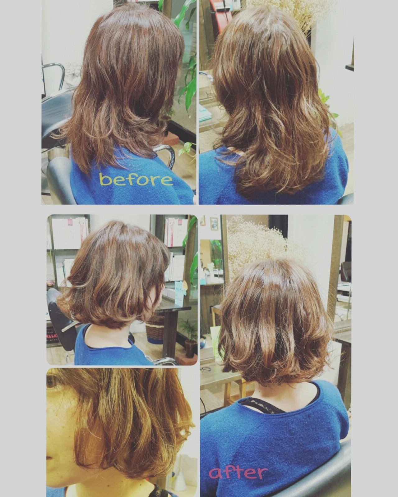 パーマ ハイライト アッシュ ナチュラルヘアスタイルや髪型の写真・画像