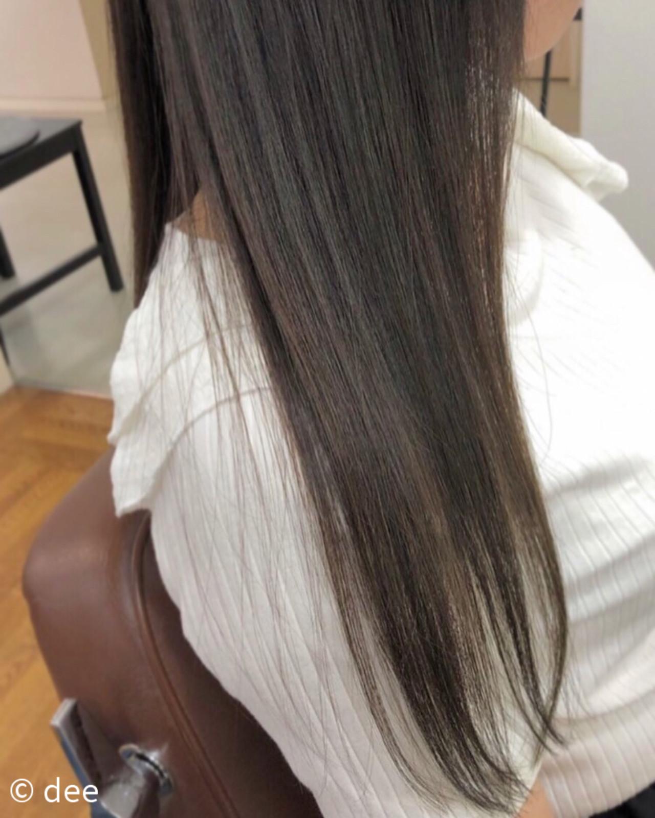 ナチュラル グレージュ 縮毛矯正ストカール ストレートヘアスタイルや髪型の写真・画像