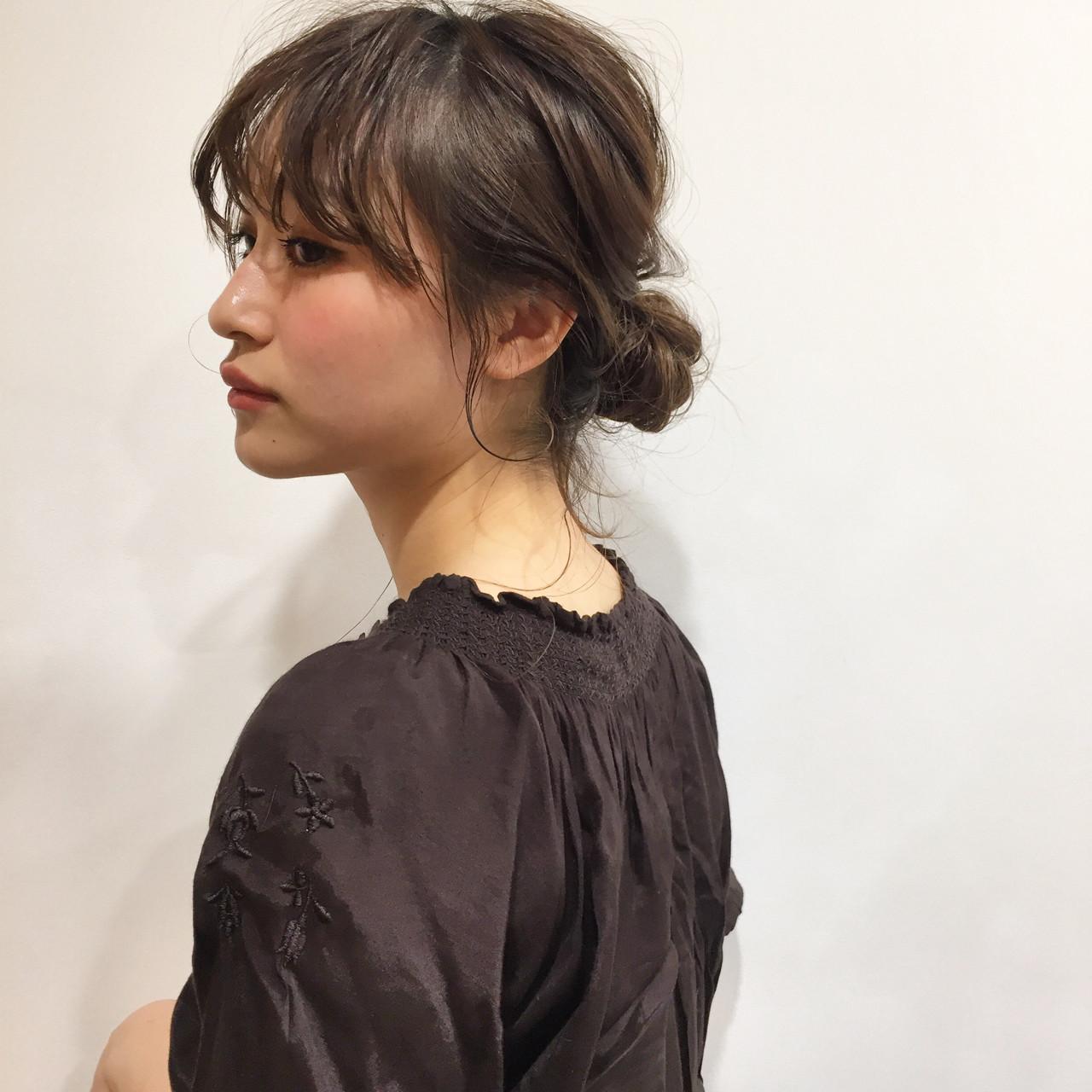 簡単ヘアアレンジ ナチュラル ミディアム デート ヘアスタイルや髪型の写真・画像 | 佐々木拓巳 / GARDEN harajuku