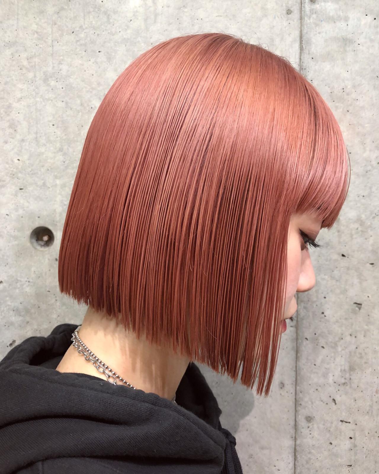 ピンク ストリート グレージュ 切りっぱなし ヘアスタイルや髪型の写真・画像 | MIKIZO / merci (メルシー)
