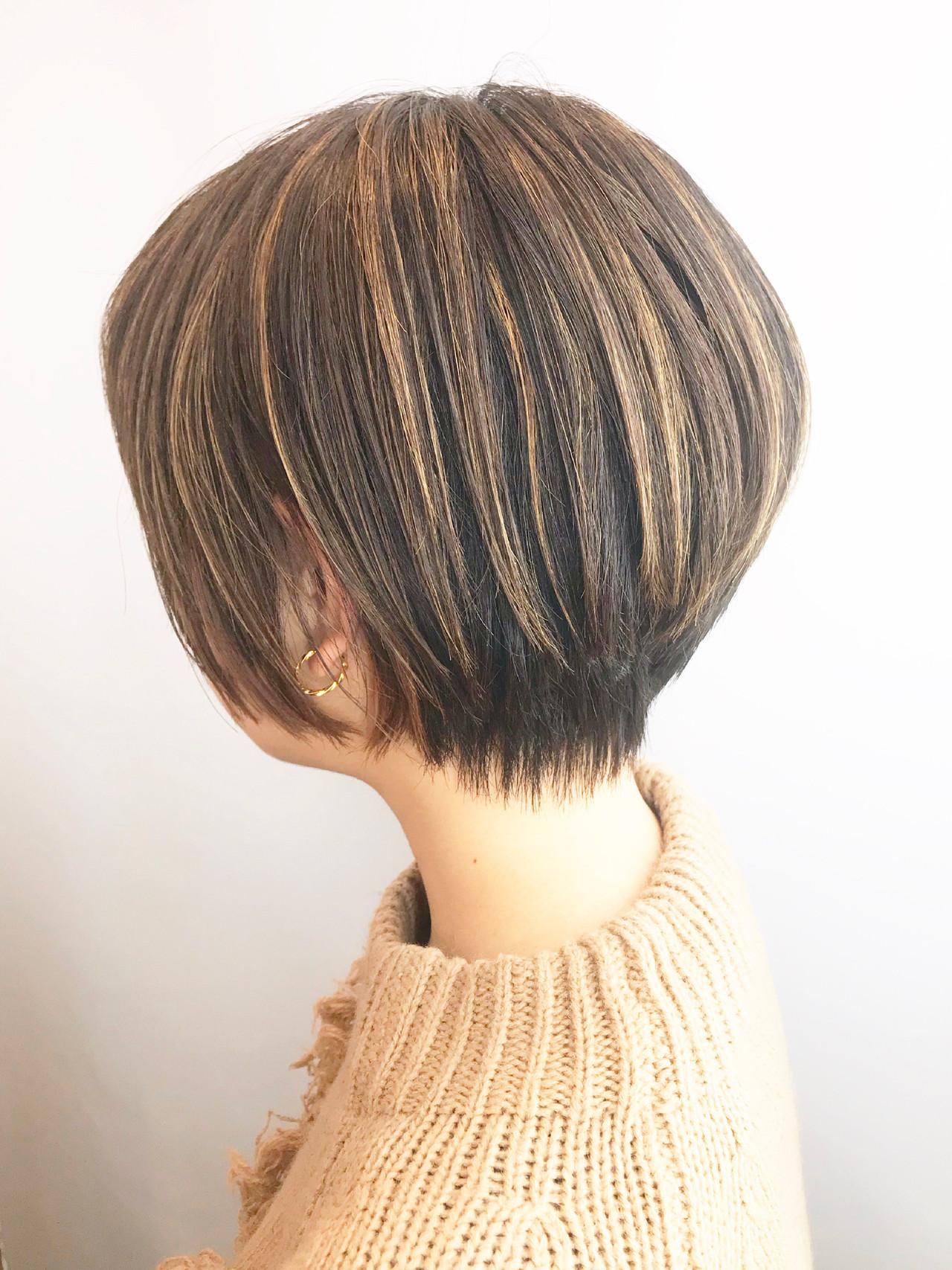 ショート ハンサムショート 小顔ショート ハイライト ヘアスタイルや髪型の写真・画像 | Hiroさん / H+by Airsalon