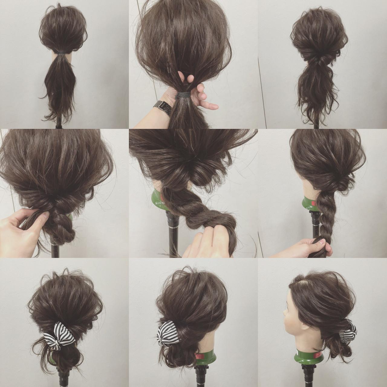 大人かわいい ショート 簡単ヘアアレンジ シニヨン ヘアスタイルや髪型の写真・画像 | 宮田 恵里香 / igloo