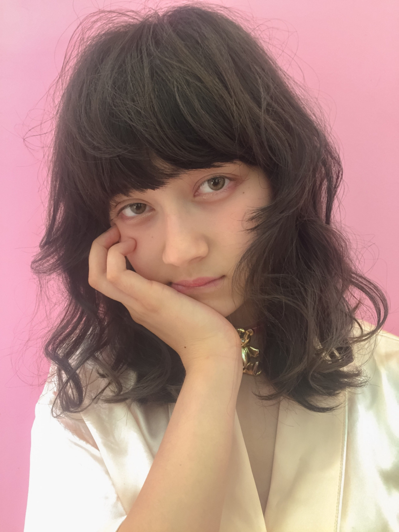 ミディアム ガーリー 外国人風 アッシュヘアスタイルや髪型の写真・画像