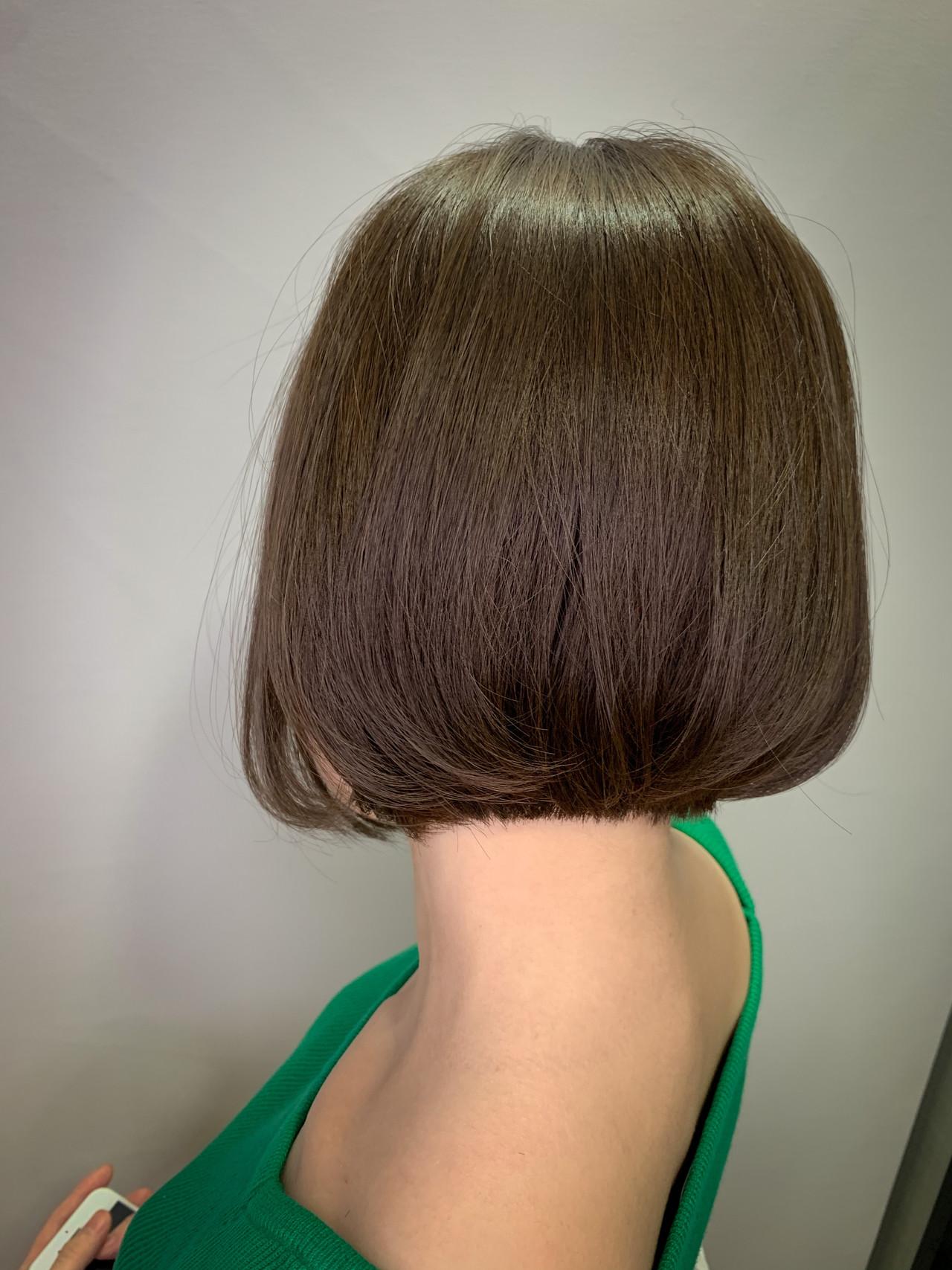 切りっぱなしボブ ショートヘア ナチュラル ミニボブ ヘアスタイルや髪型の写真・画像 | 川崎雄三 / 株式会社 L