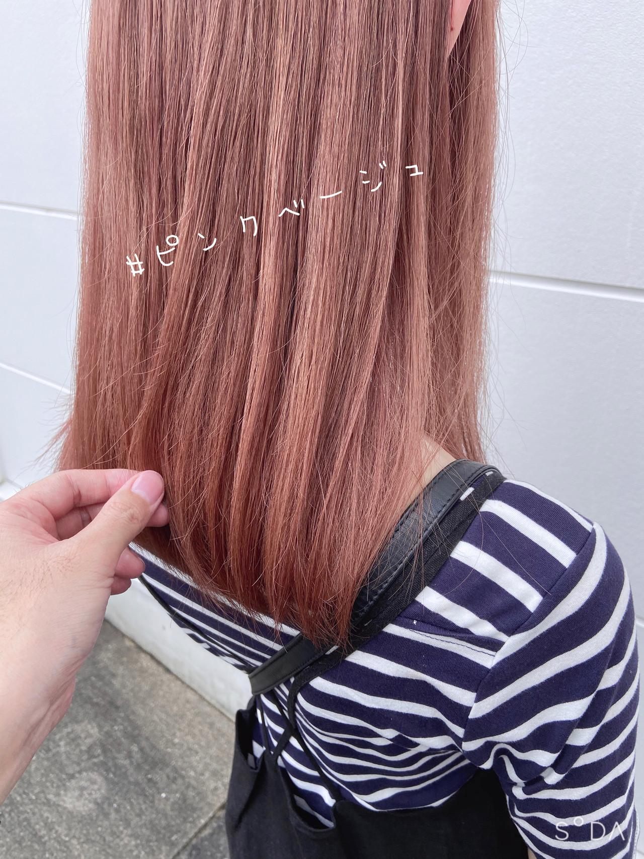 ガーリー ベリーピンク ピンクベージュ ラベンダーピンクヘアスタイルや髪型の写真・画像