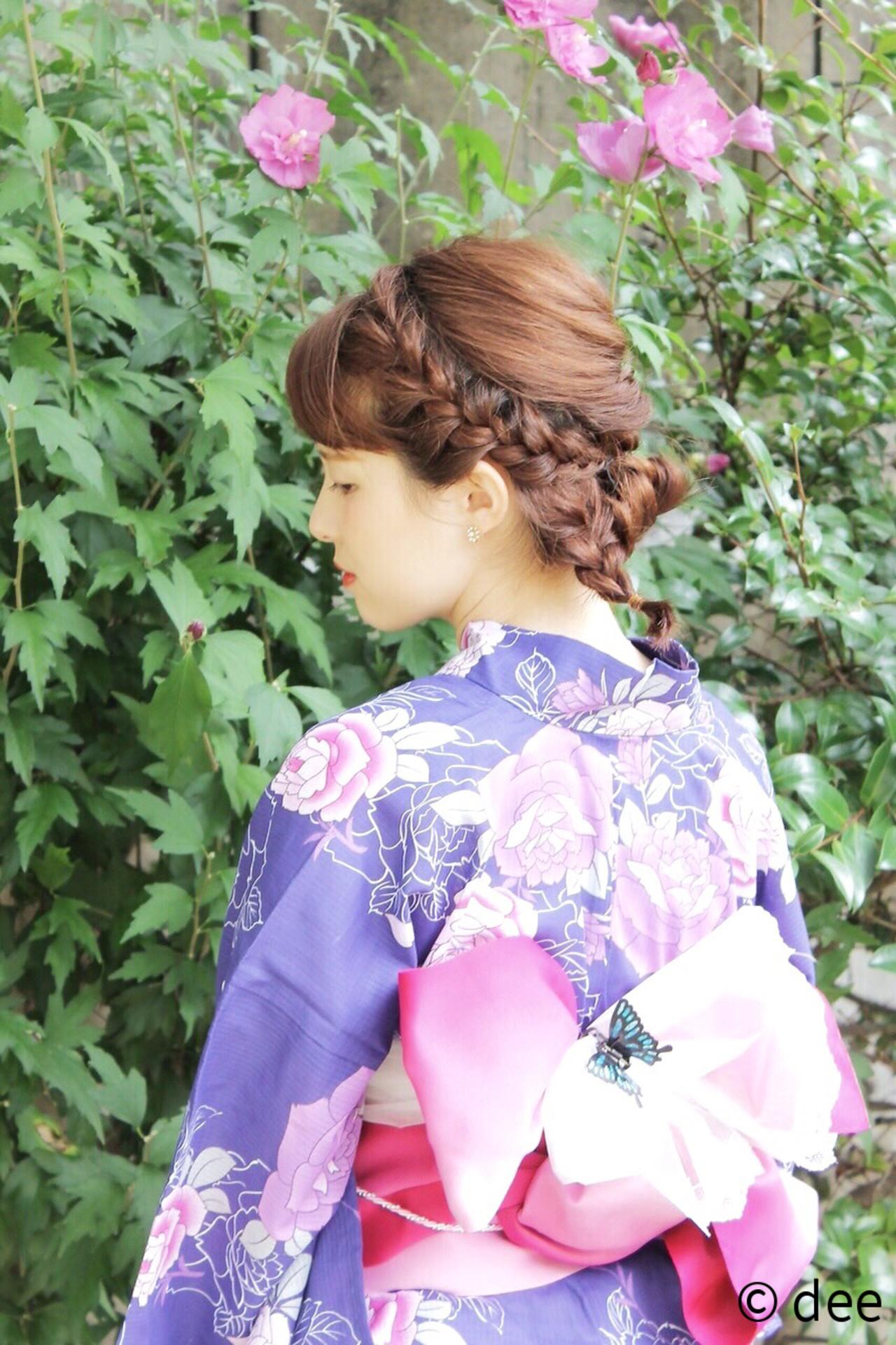 ヘアアレンジ 夏 ヘアピン お祭り ヘアスタイルや髪型の写真・画像 | dee / dee