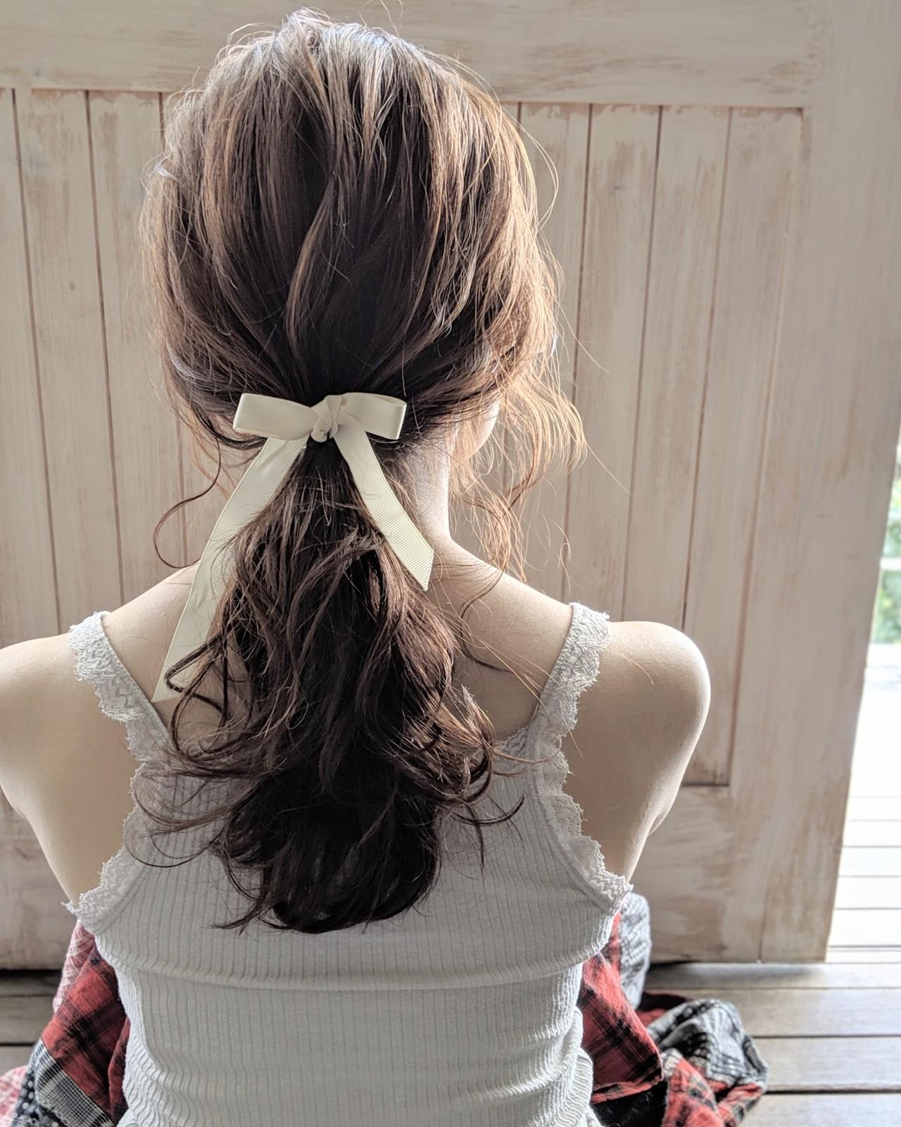 ヘアアレンジ ロング ポニーテール フェミニン ヘアスタイルや髪型の写真・画像