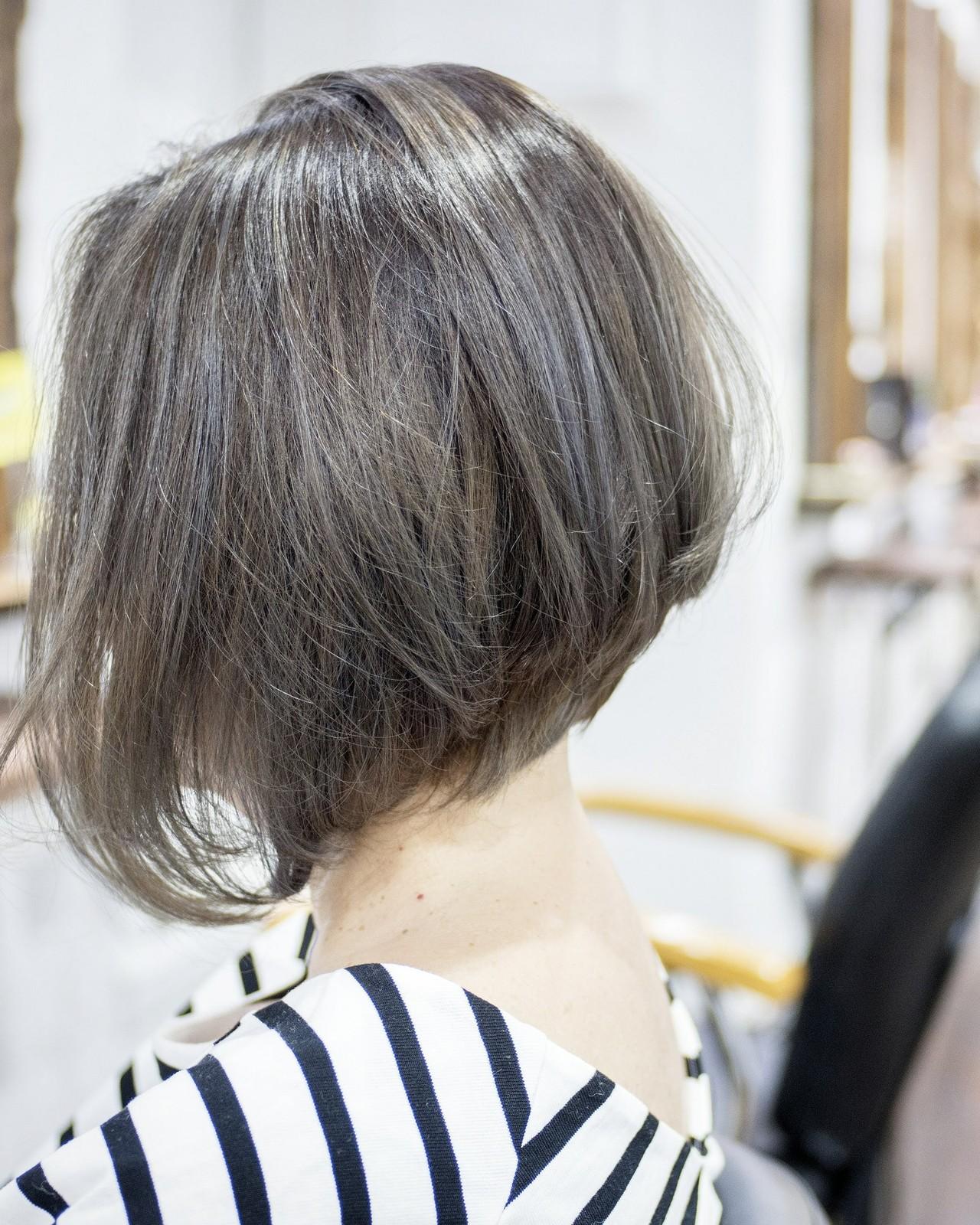 小顔 大人かわいい フェミニン 前下がり ヘアスタイルや髪型の写真・画像 | 荒巻 充 / トライベッカ浦和店