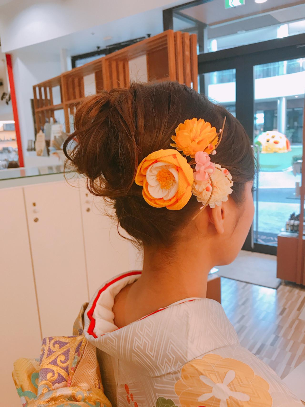 成人式 ヘアアレンジ ミディアム 和装 ヘアスタイルや髪型の写真・画像 | 永井野 健人 / F.AVEDA 木の葉モール橋本